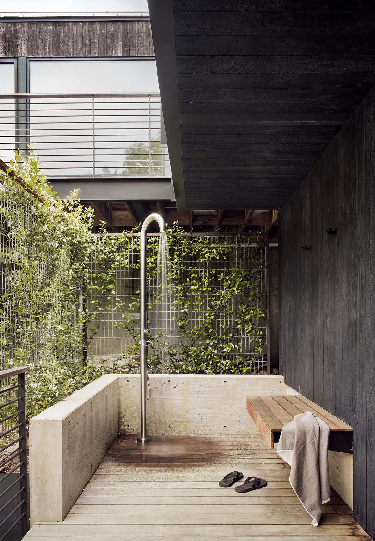 A modern outdoor shower.