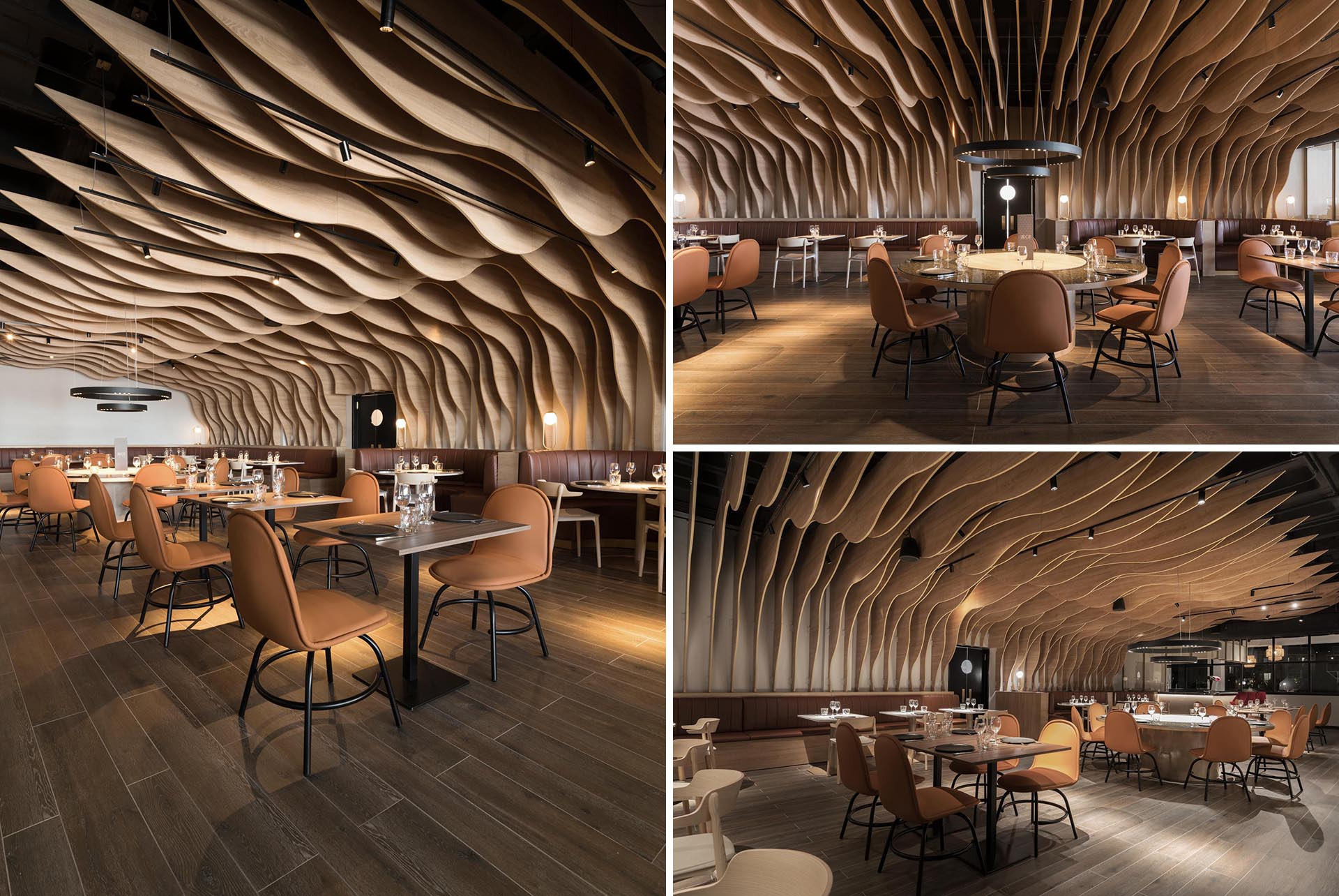 A modern restaurant with wood fins that cover the walls and ceiling.