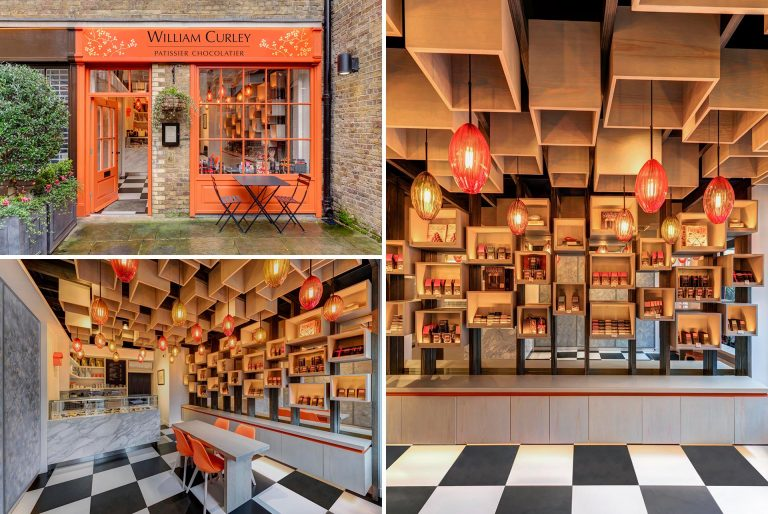 Wood Boxes Are Used To Showcase The Products Inside This Chocolate Shop In London