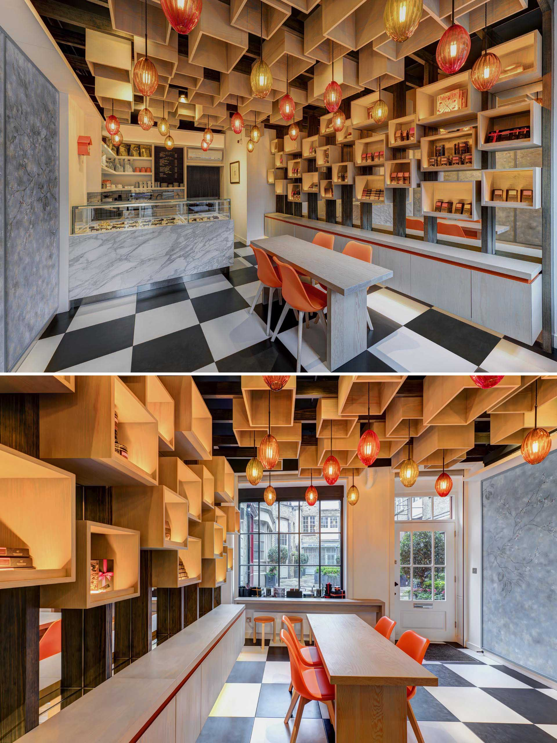 A modern retail store with wood boxes on the wall and ceiling.
