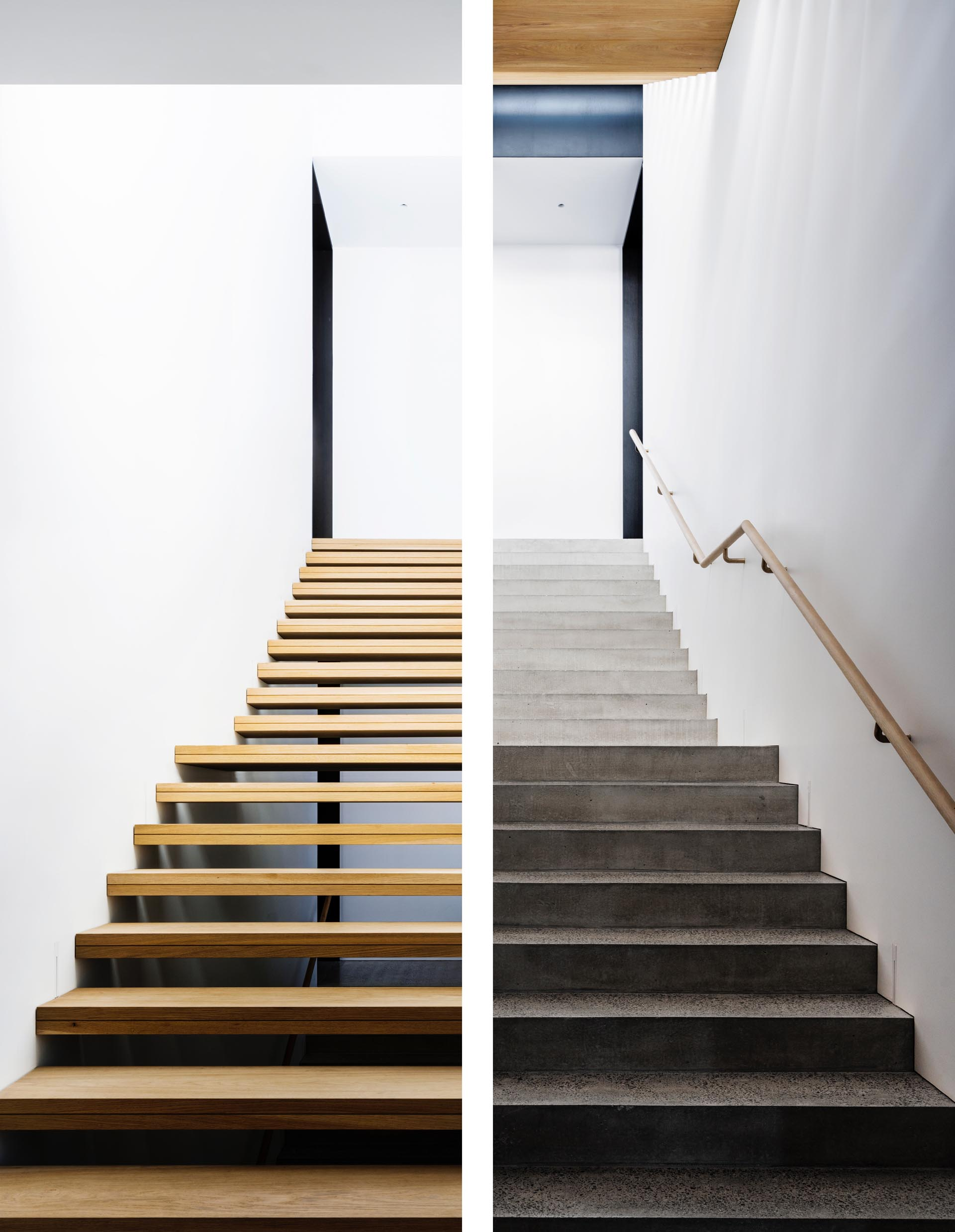 Two different styles of stairs, one wood and one concrete.