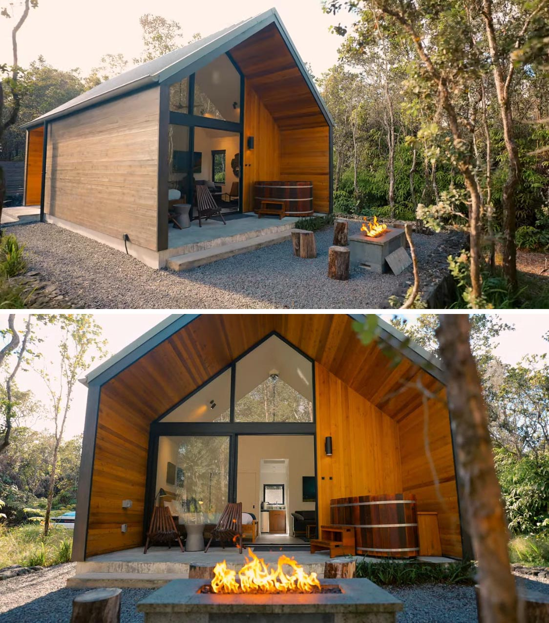 Eye-catching floor-to-ceiling 14 foot windows connecting the interior of this tiny home to the outdoors, while the warm wood exterior and architecture are inspired by modern design.