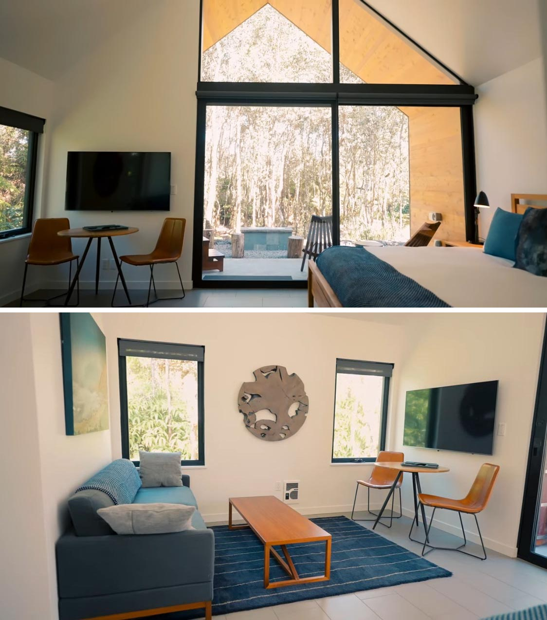 The main living area of a modern tiny home is shared with the bedroom, creating an open plan interior filled with natural light.