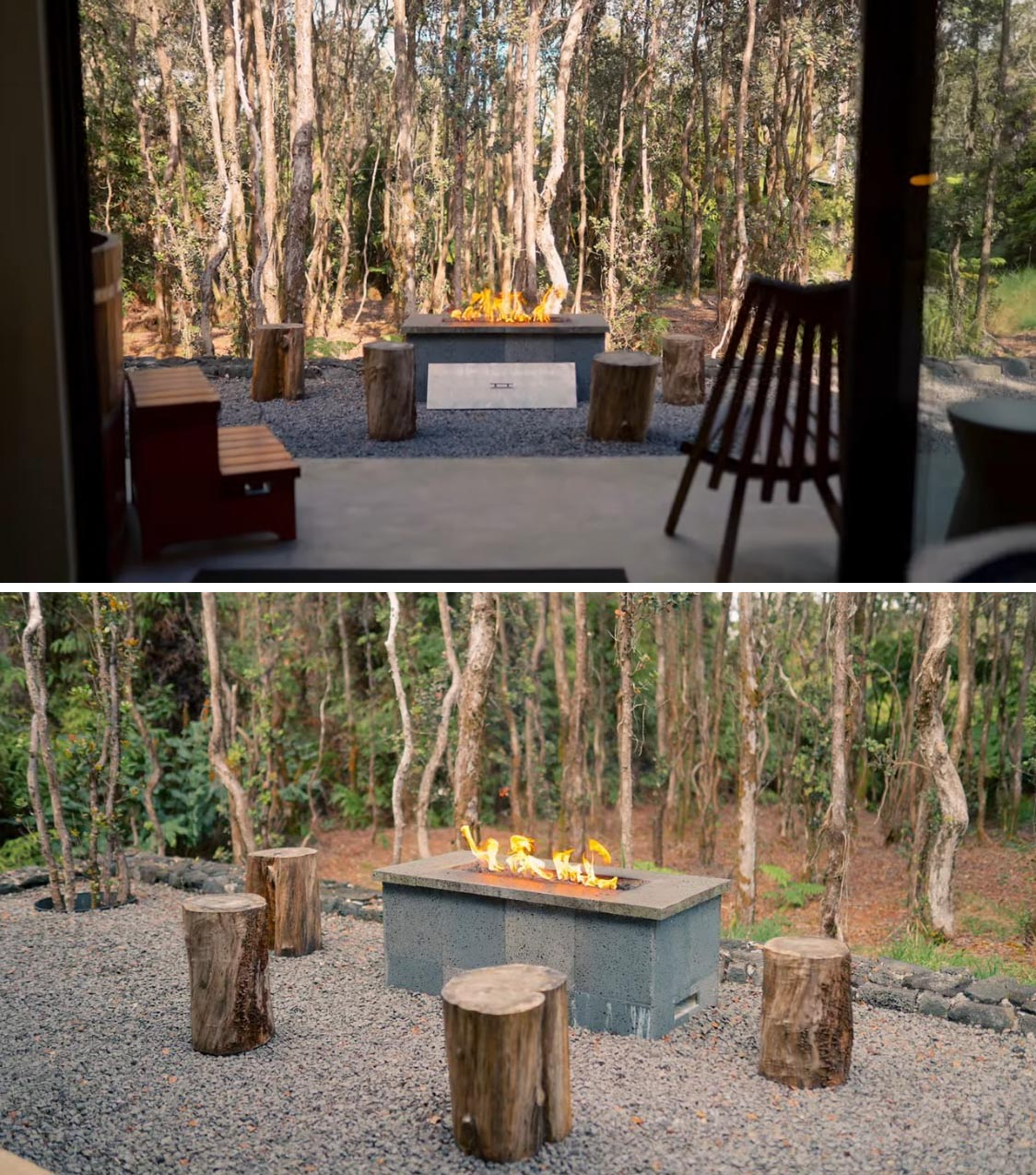 An outdoor fire pit surrounded by wood stools.