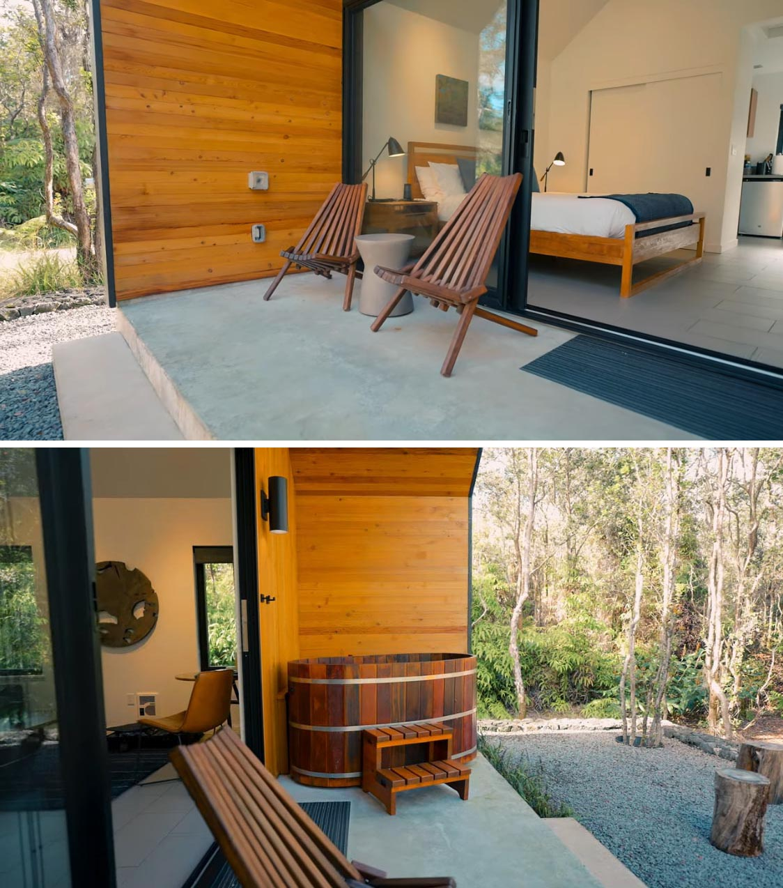 A modern tiny house with a private lanai that includes a hot tub and lounge chairs.