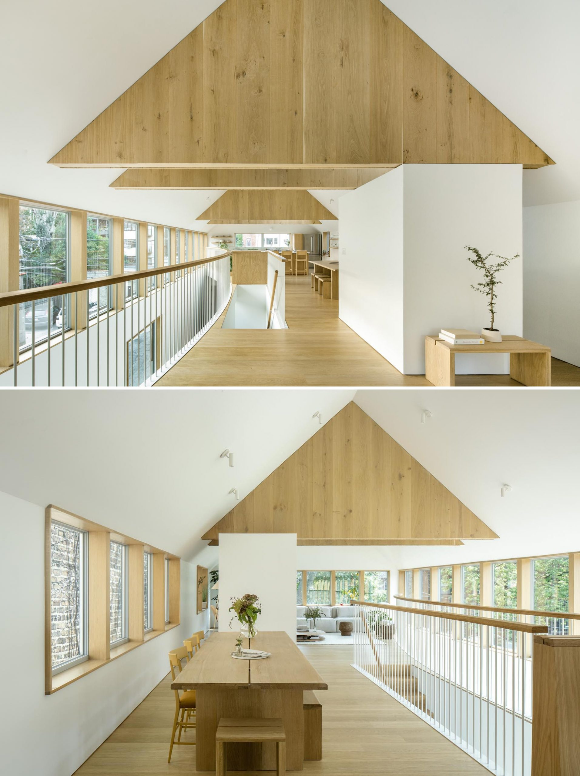 The dining room is centrally located on the upper floor of this modern home, while the flooring and other wood elements like the trusses are made from white oak.