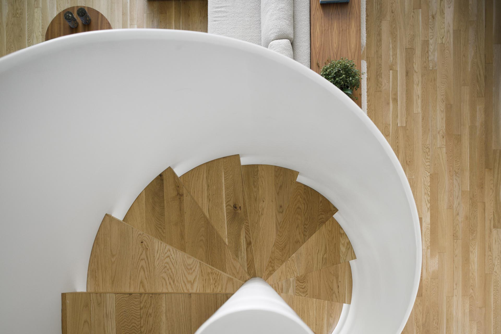 Modern white and wood spiral stairs.