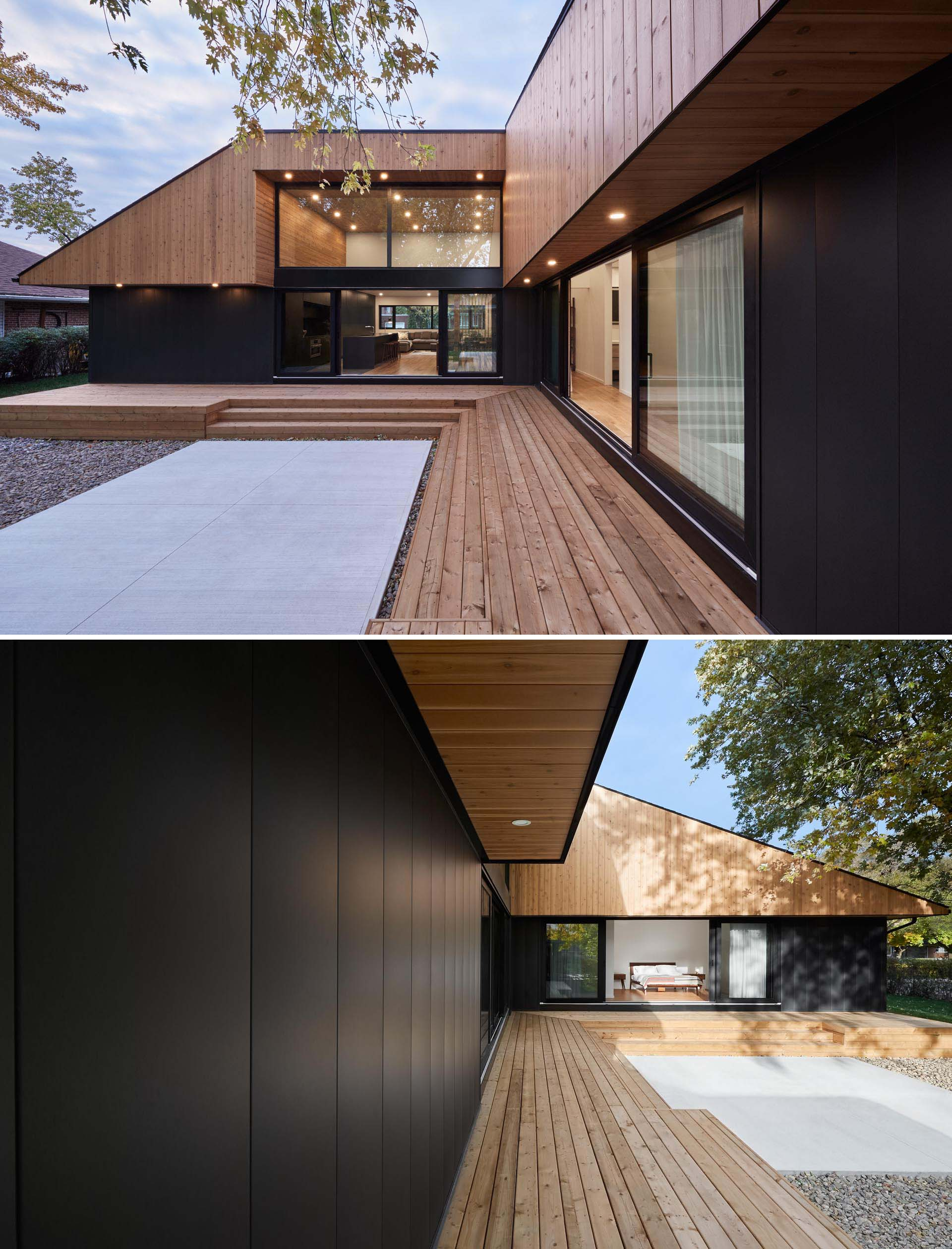 A modern home with high ceilings, wood outdoor steps, and a black framed sliding lass door.