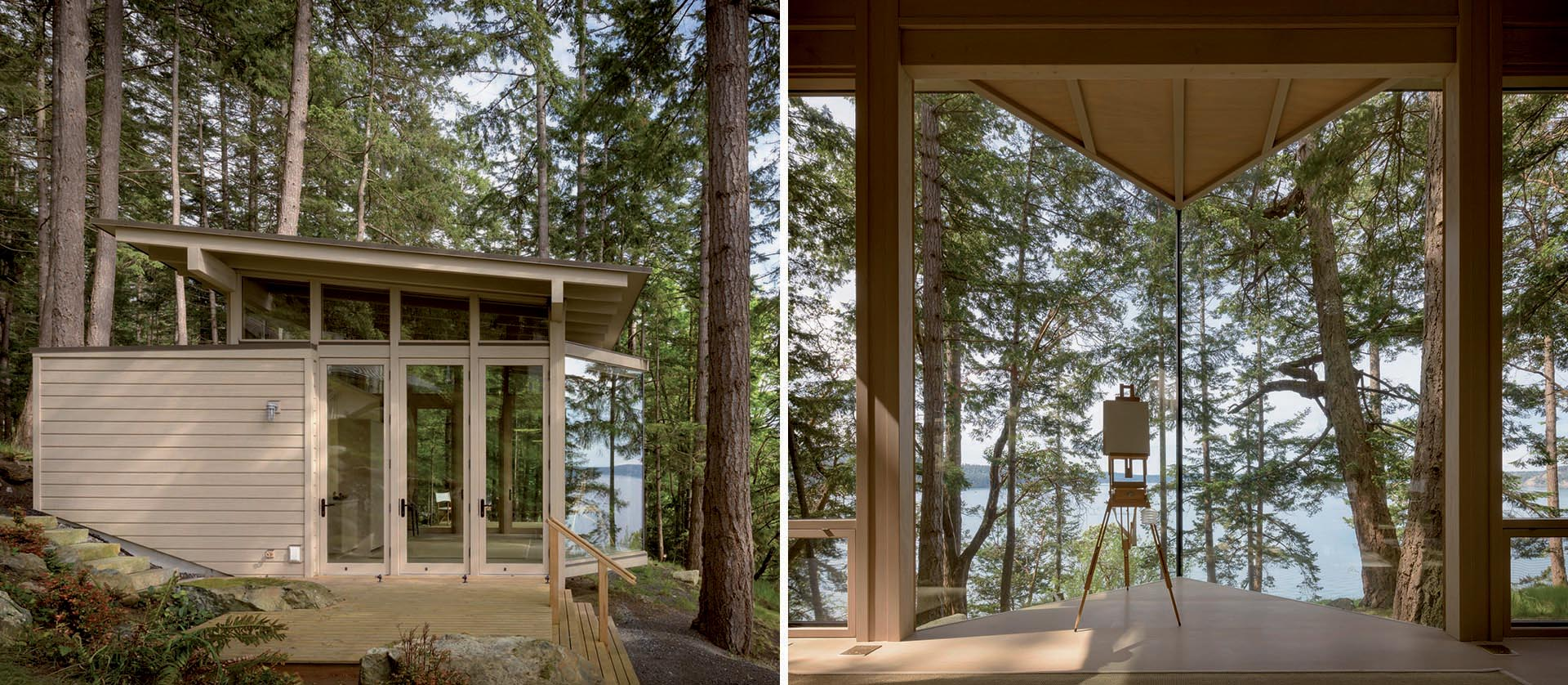 An Artist Cabin Surrounded By Trees And Water Is The Ideal Place To Find Creative Inspiration