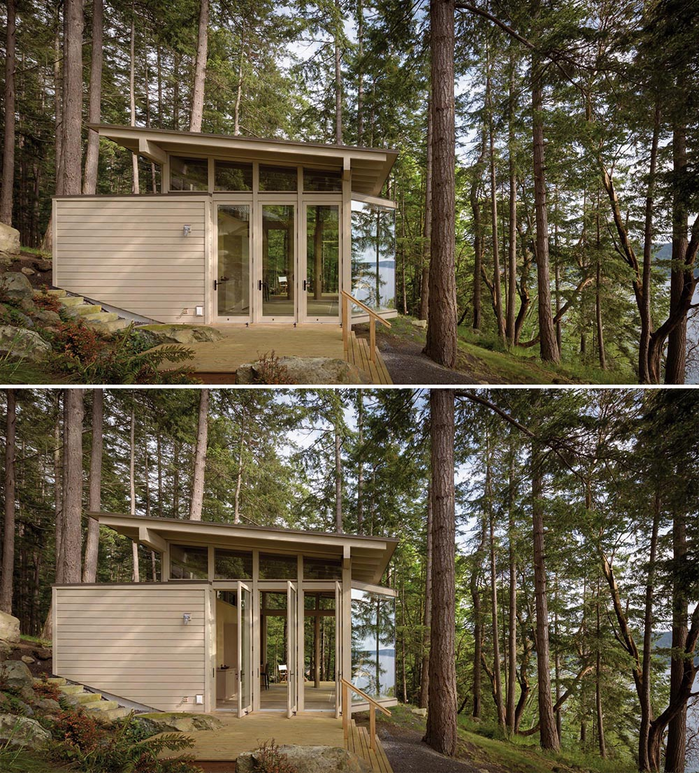 A small wood cabin that's designed as an artist cabin or guest house.