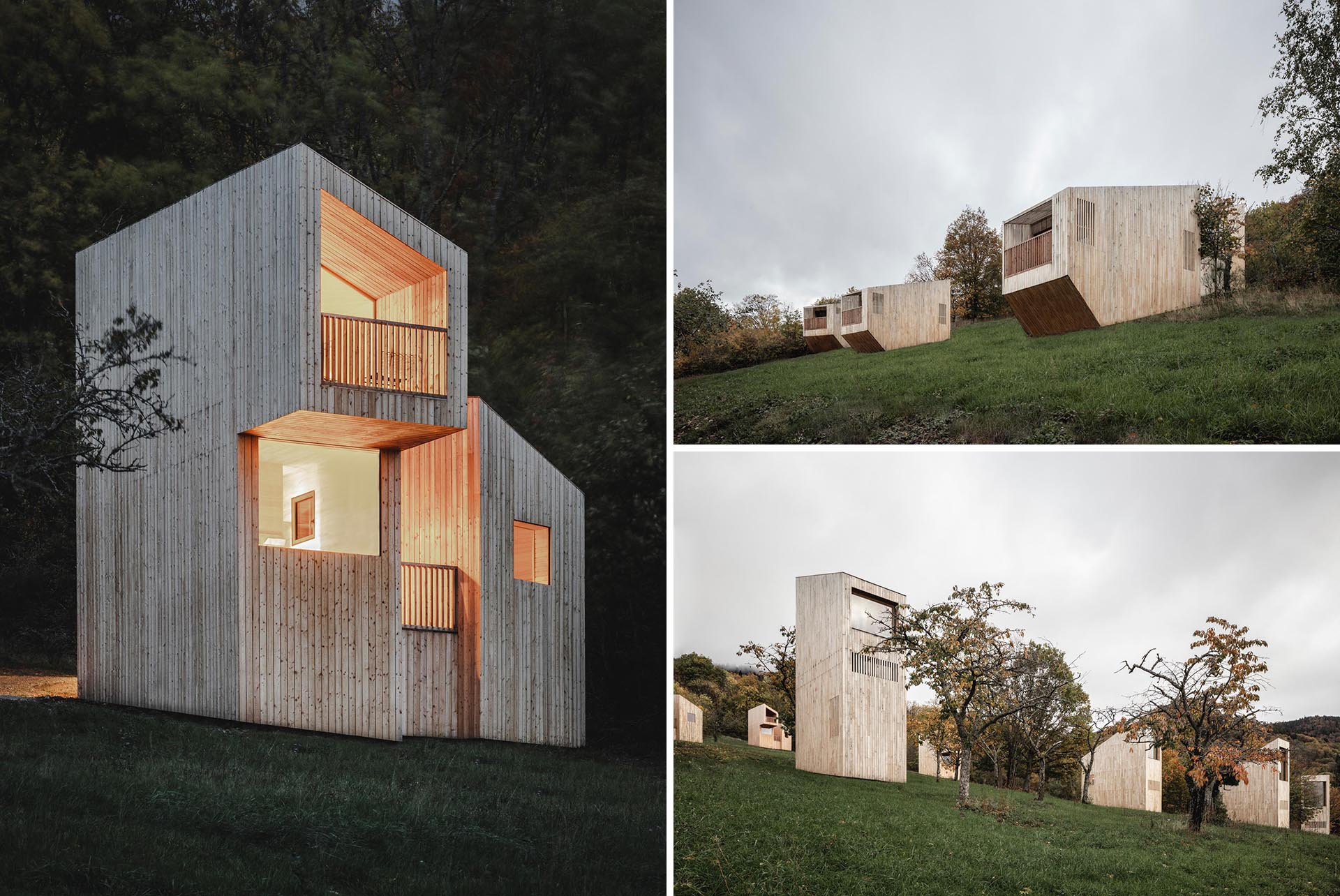The Breitenbach Landscape Hotel in France has a main building as well as 14 individual cabins with a modern design.