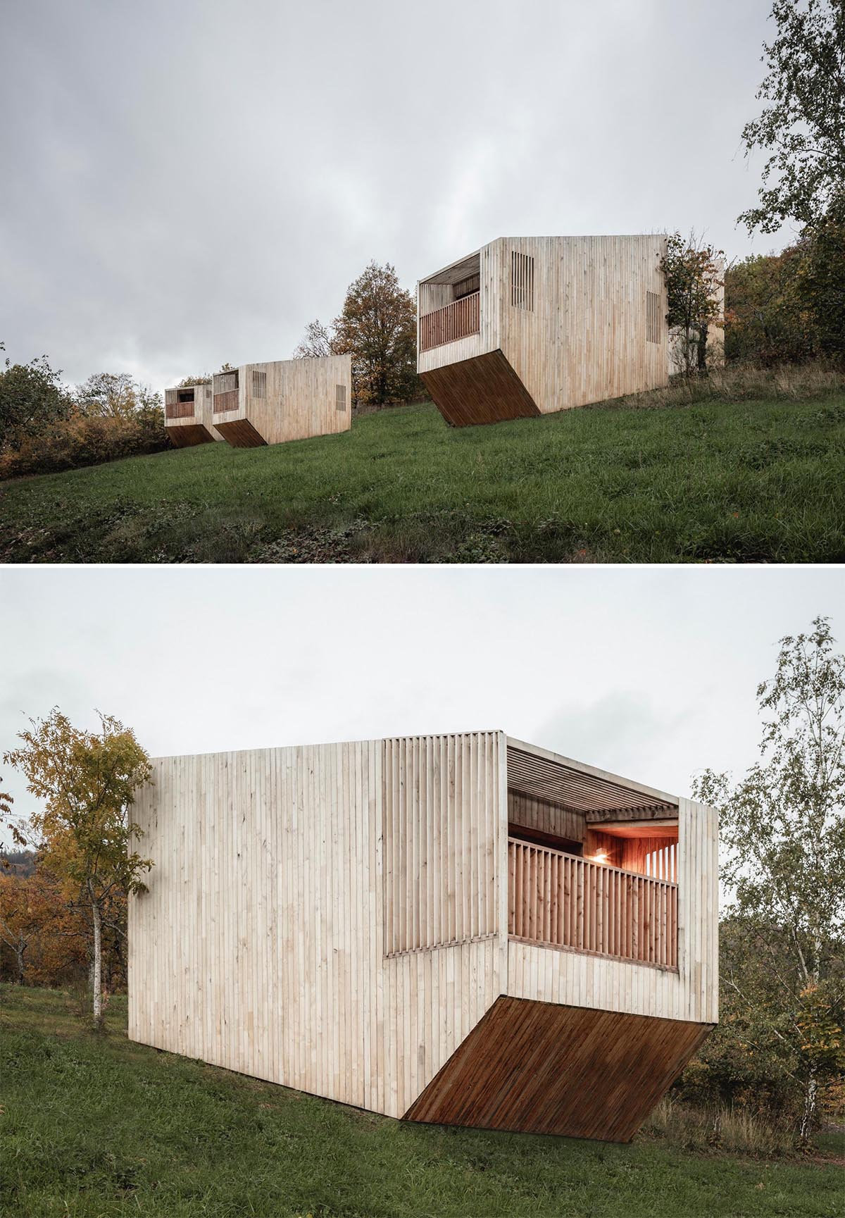 Small wood cabins designed as hotel rooms.