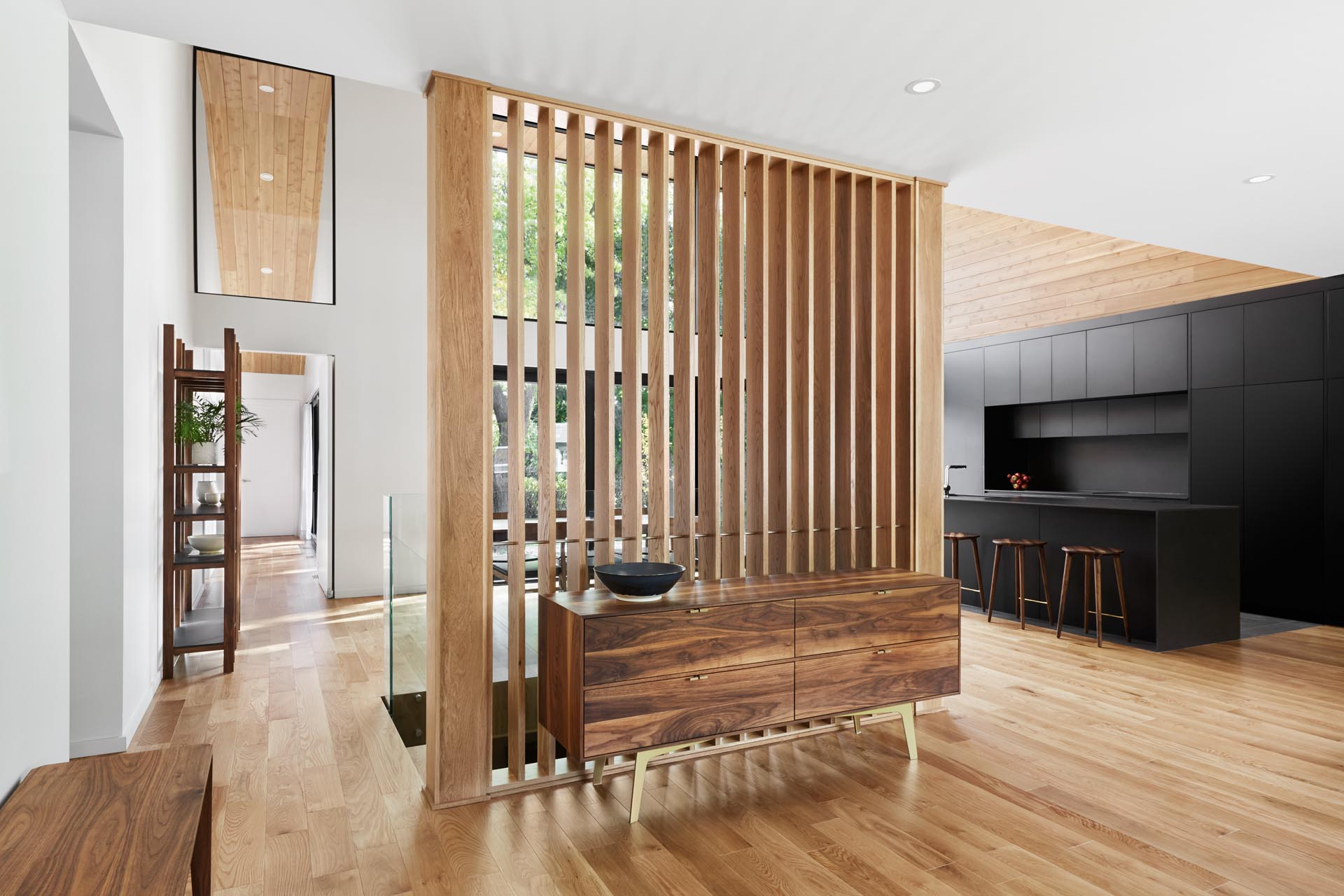 A modern wood partition screen.