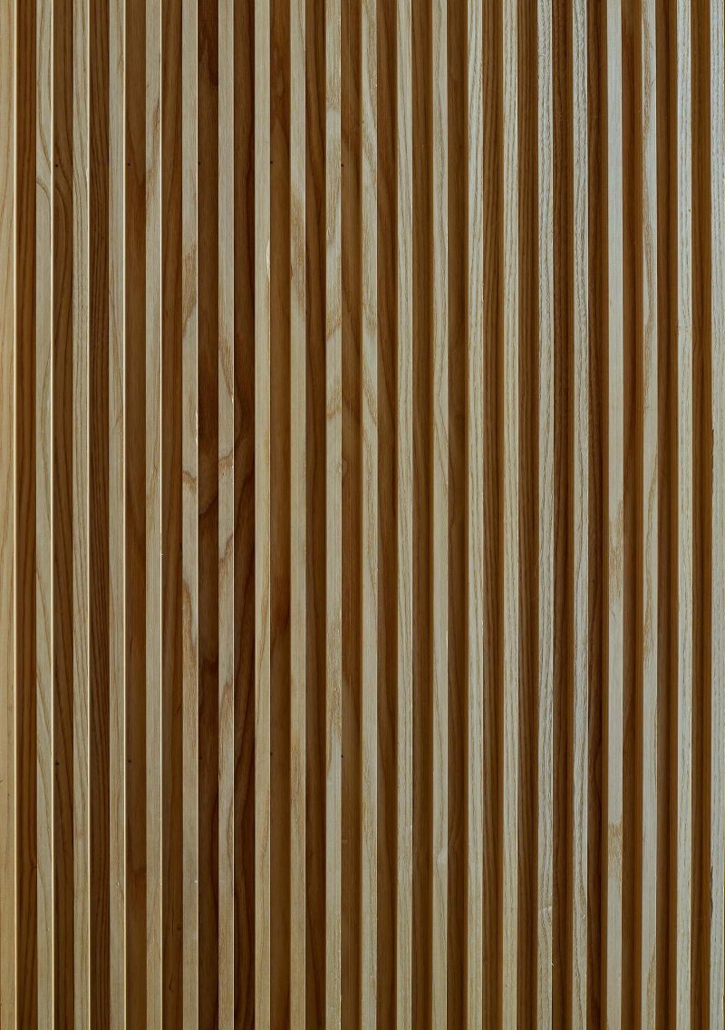 A closeup look at a wood slat wall.