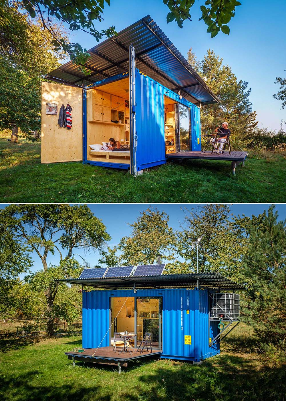 An off-grid tiny home made from a small shipping container that includes a fold out bed, solar panels, a small kitchen, and bathroom.