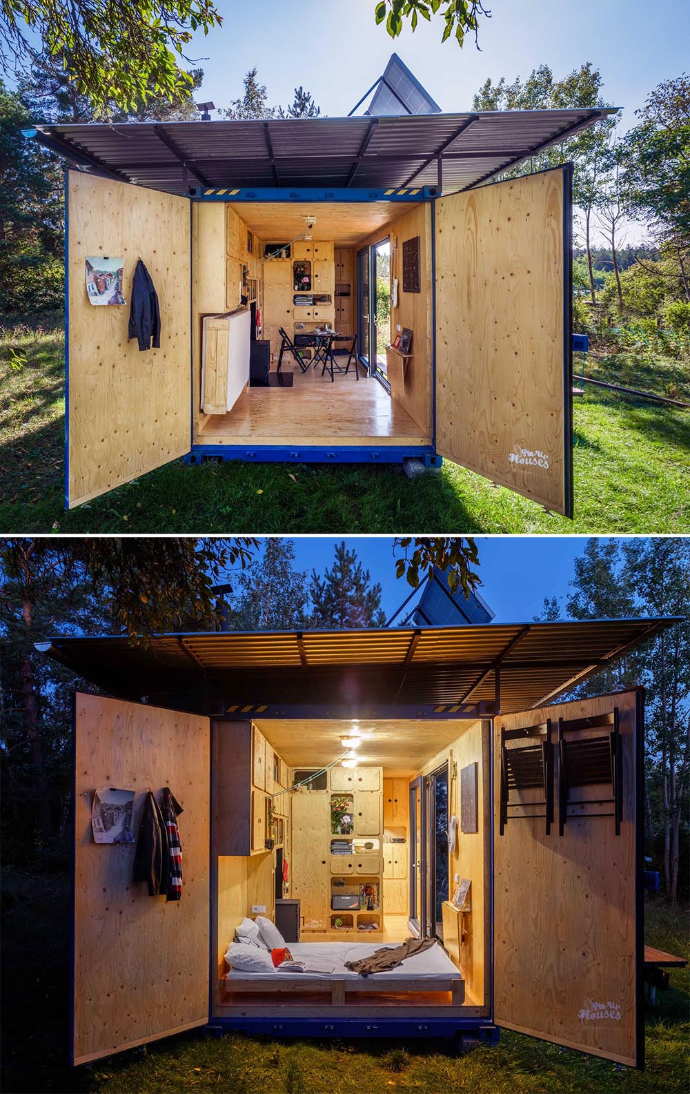 A tiny house made from a small shipping container, that's also completely off-grid and has a plywood interior.
