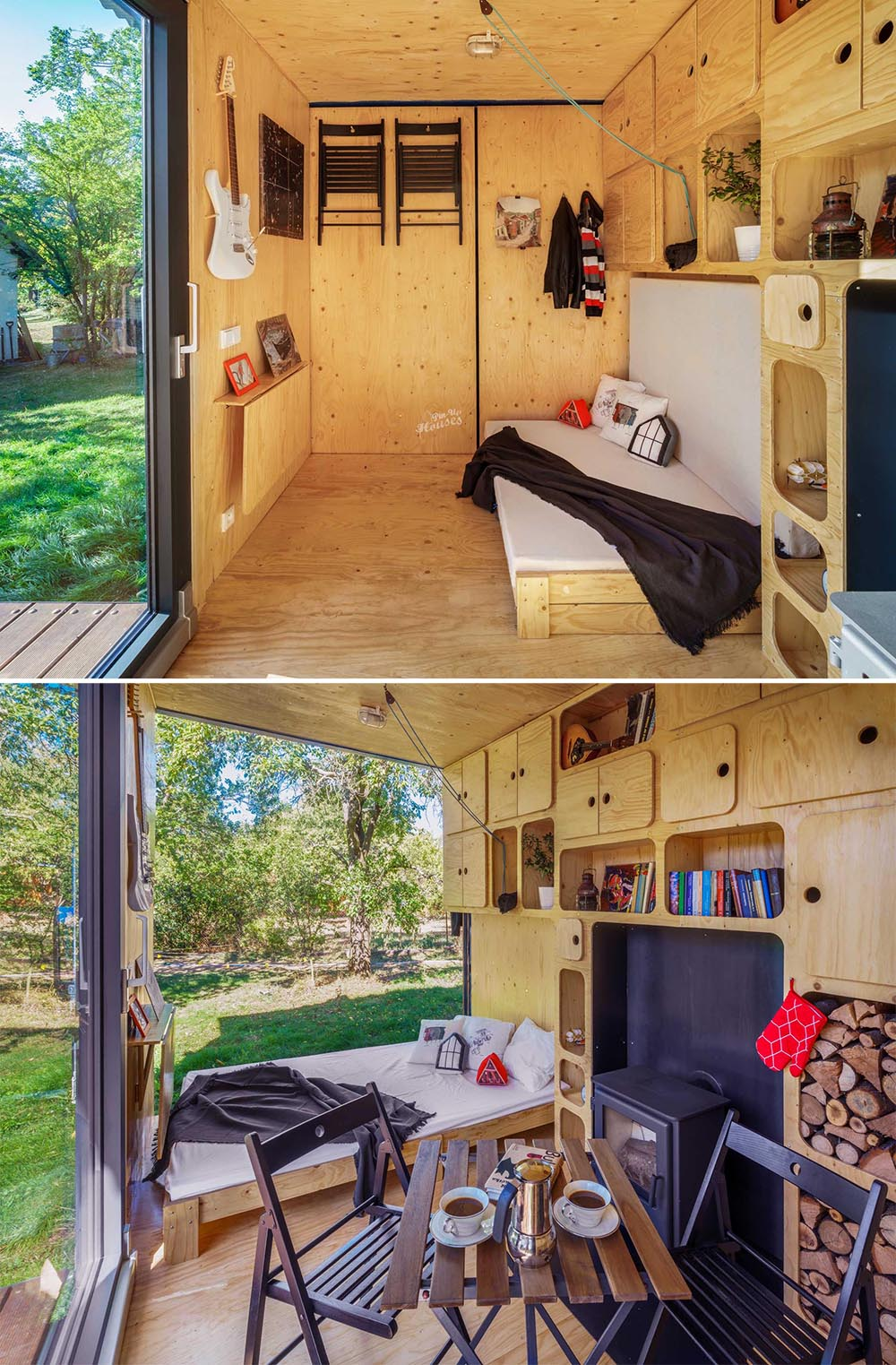A tiny home made from a shipping container has plenty of storage cabinets and a fireplace.