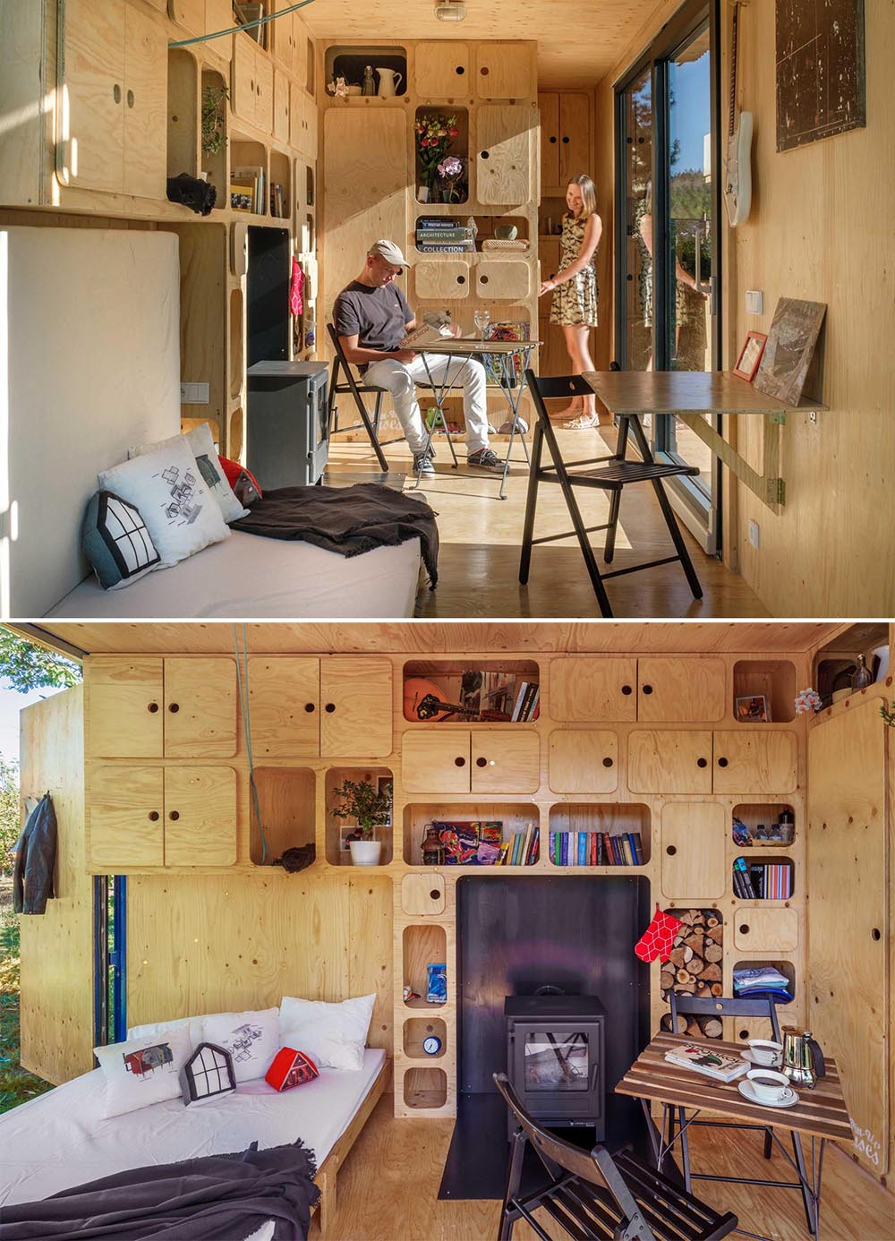 A tiny home made from a shipping container has a fold-down bed, plenty of storage cabinets, and a fireplace.
