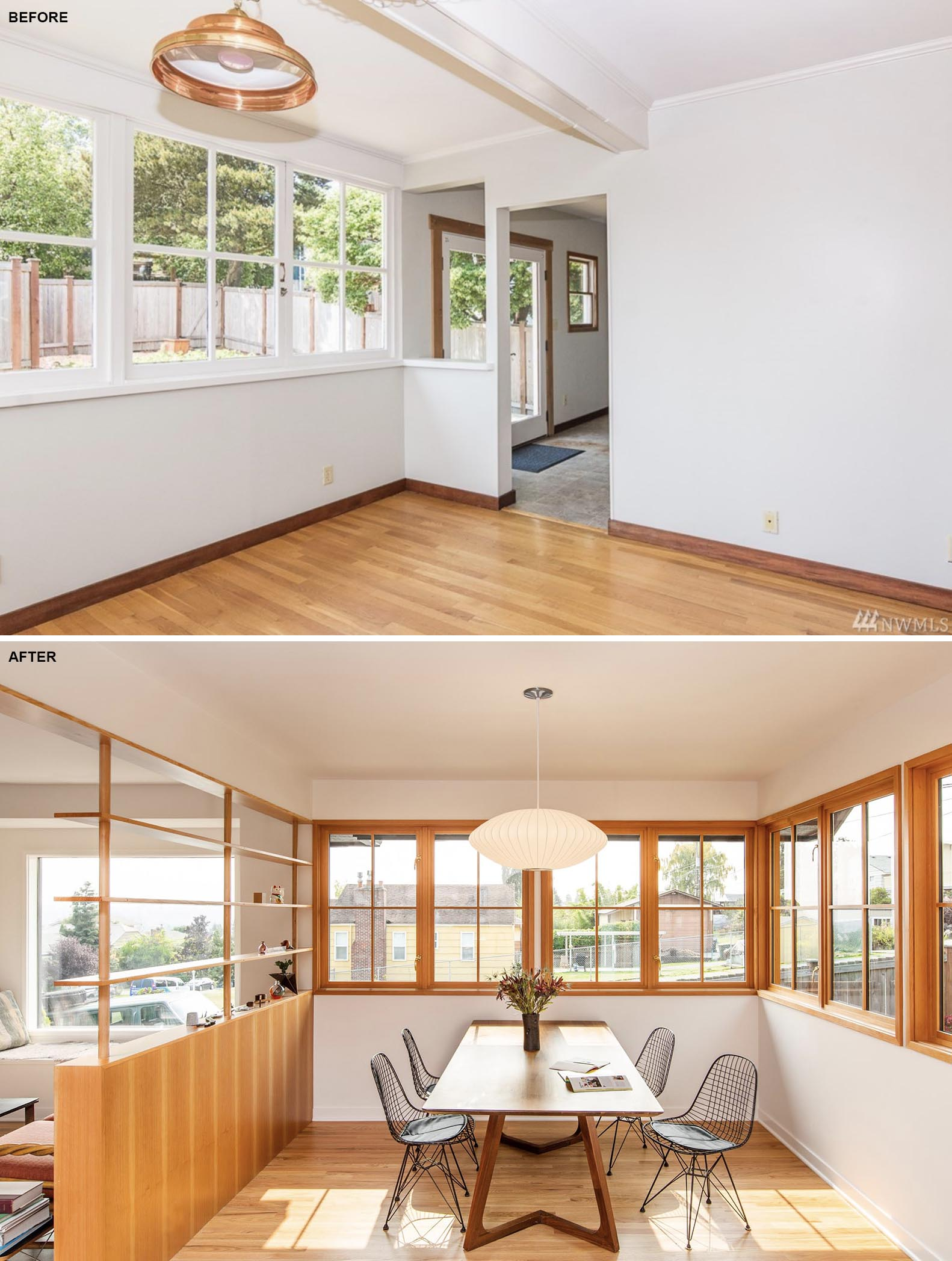 A dining room renovation that included removing the white window frames and replacing them with wood ones.