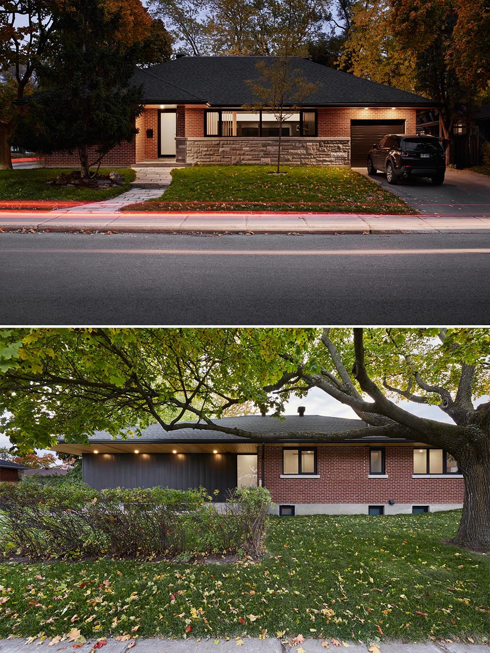 This remodeled bungalow, located on a corner lot and surrounded by mature trees, has a brick and stone facade with black accents.