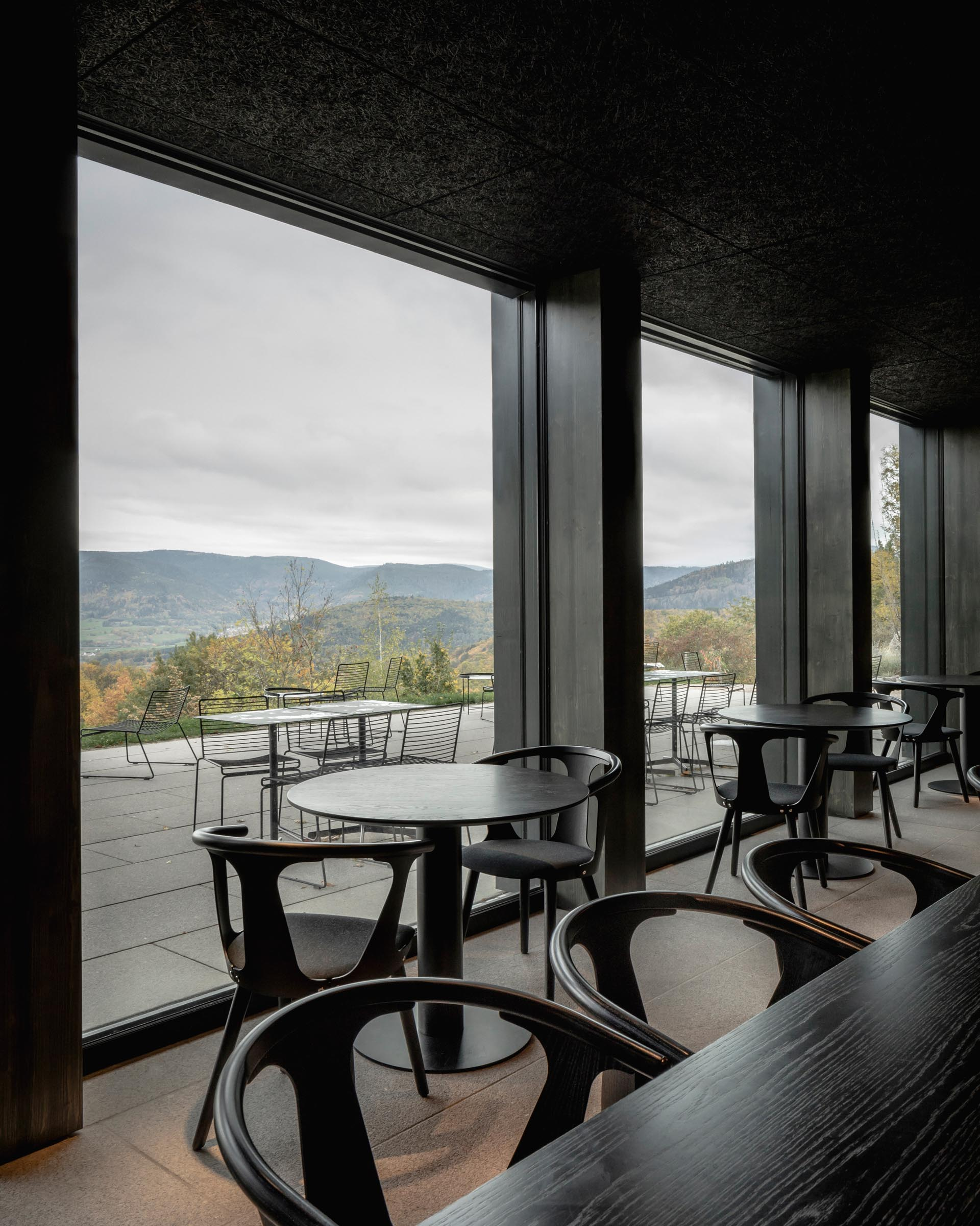 A modern hotel restaurant with dark wood accents and large windows.