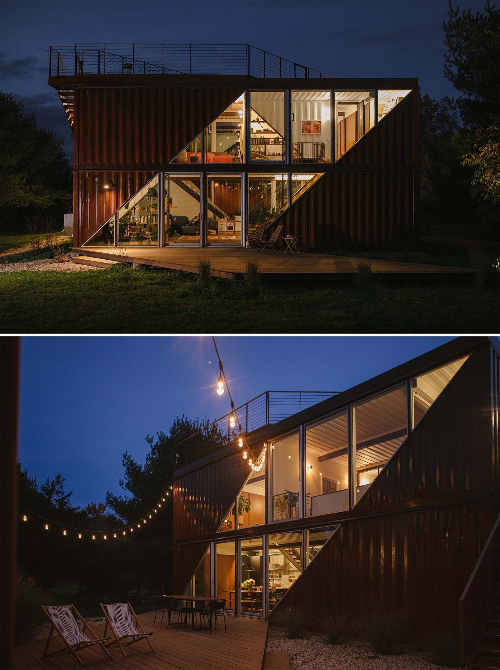 A modern shipping container home with two levels and a rooftop deck.