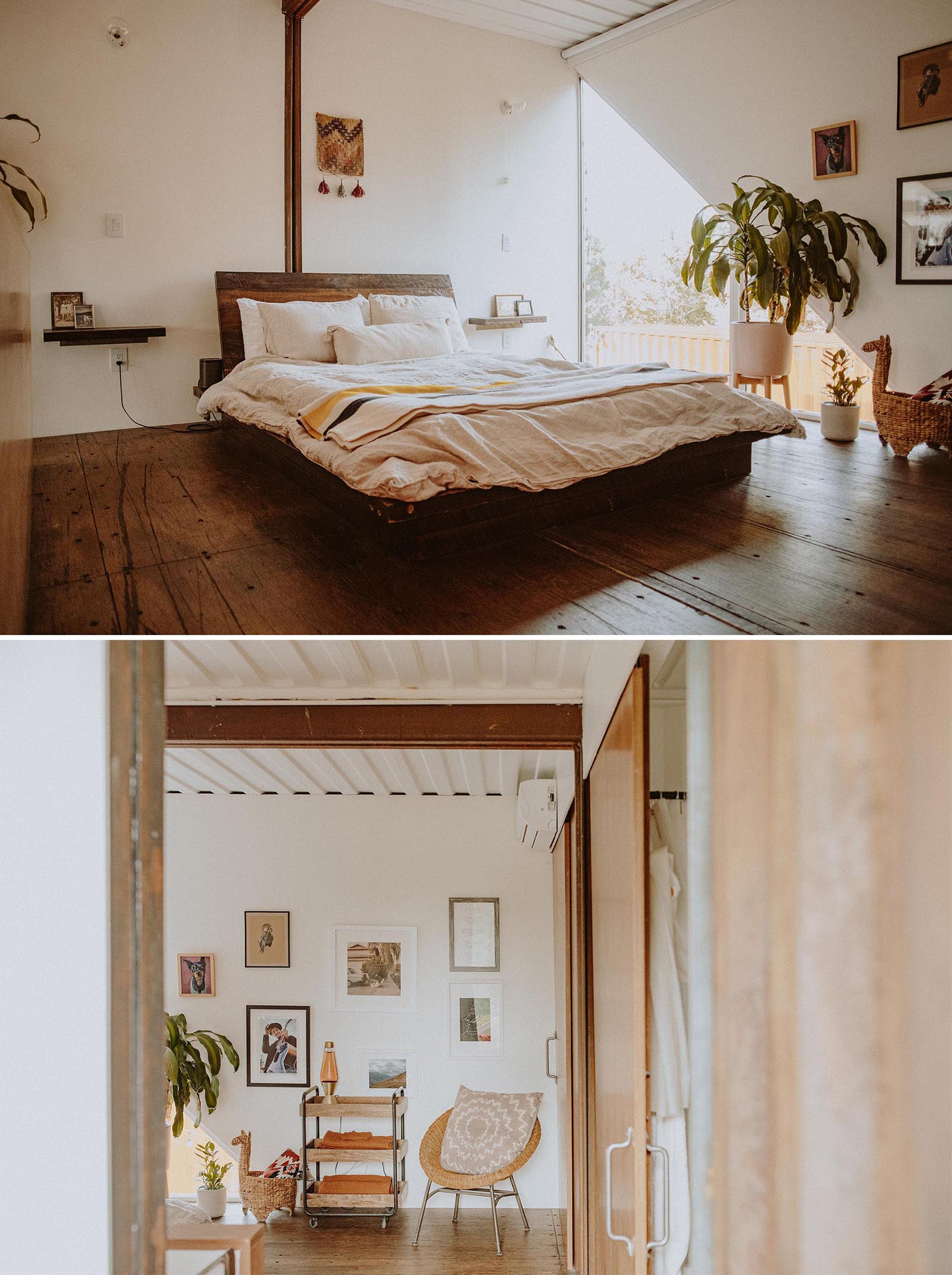 The master bedroom inside a modern shipping container home.