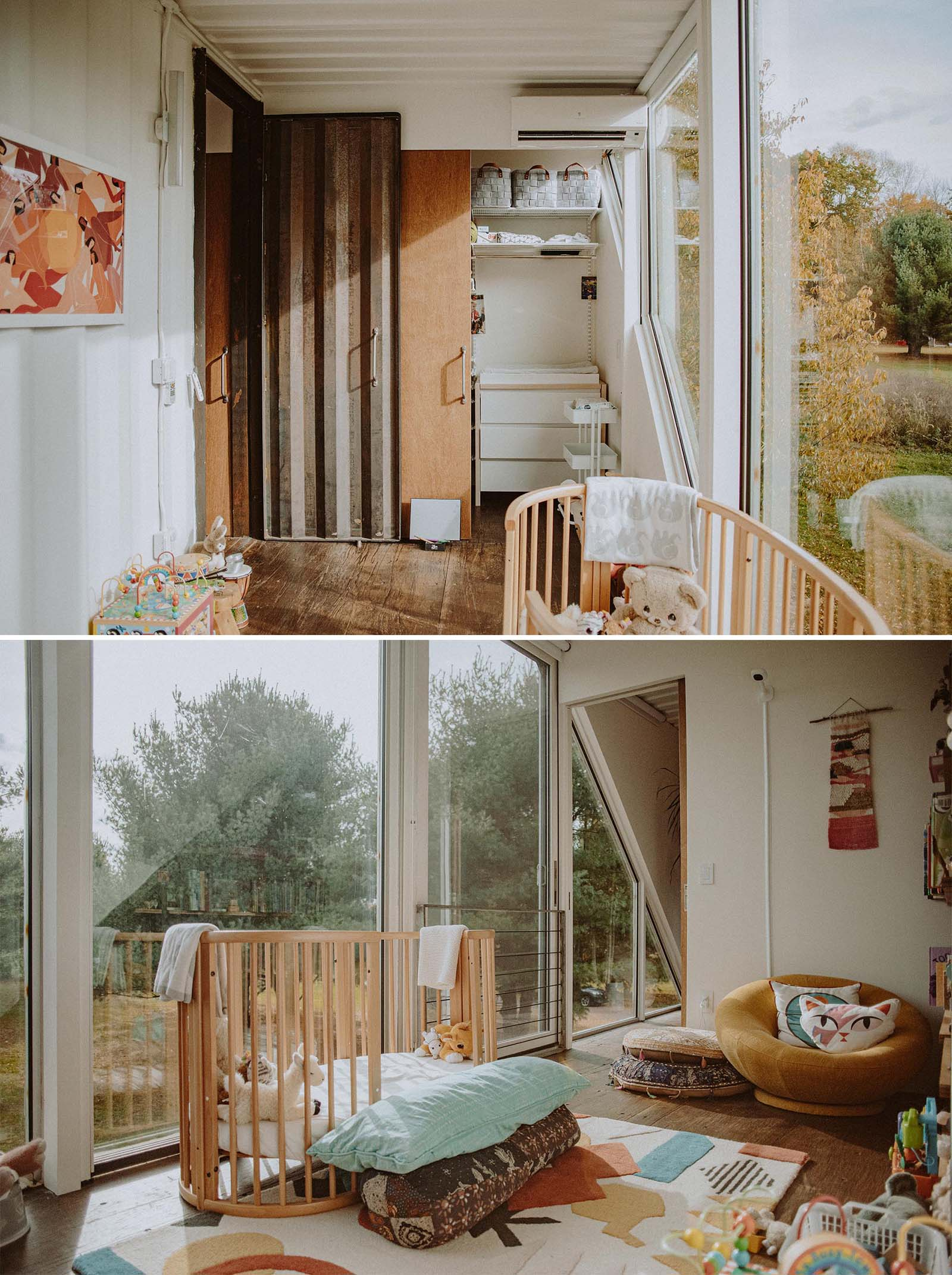 A modern nursery within a shipping container home.