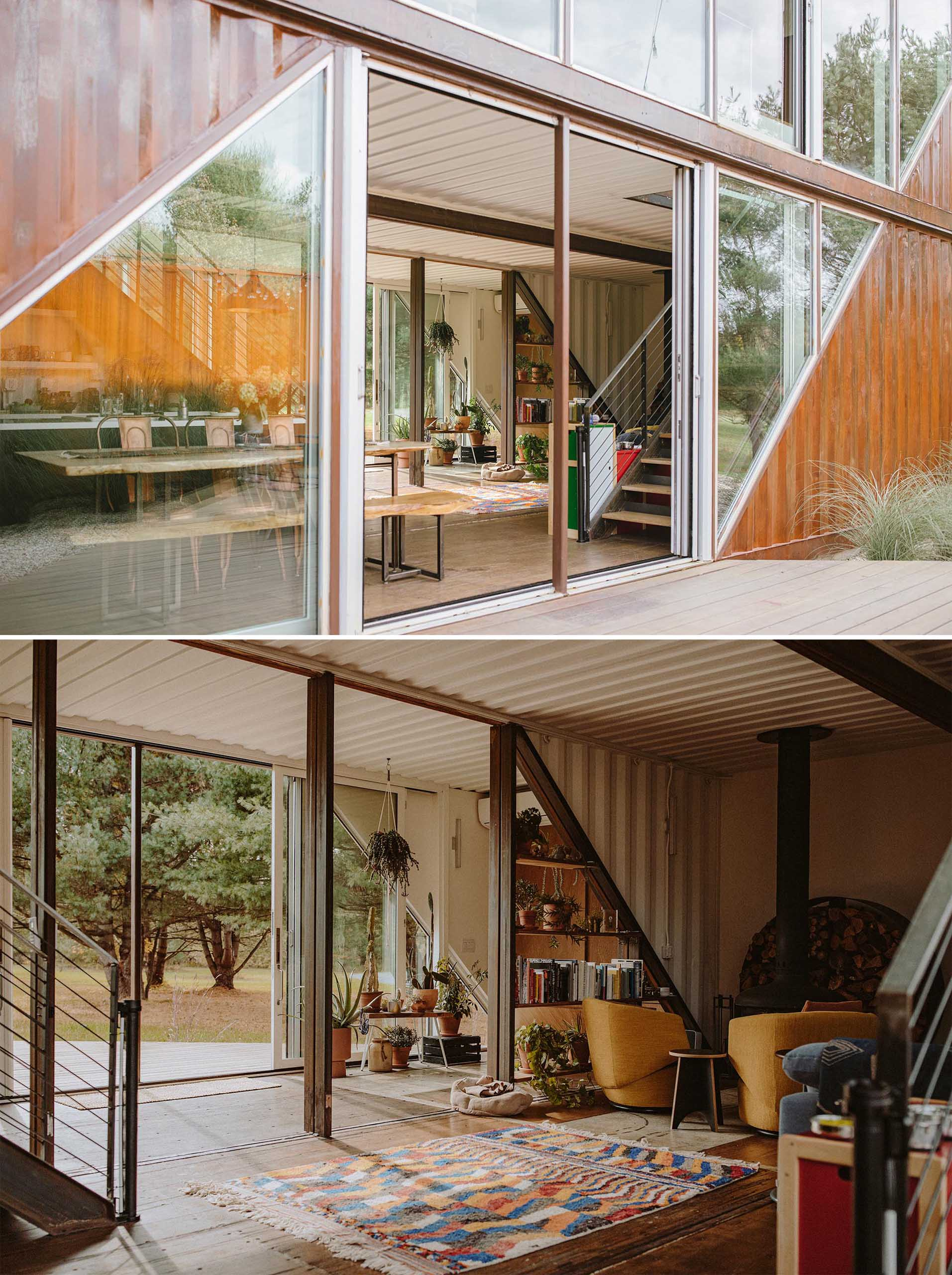 A modern shipping container home with two levels, outdoor decks, and glass walls.