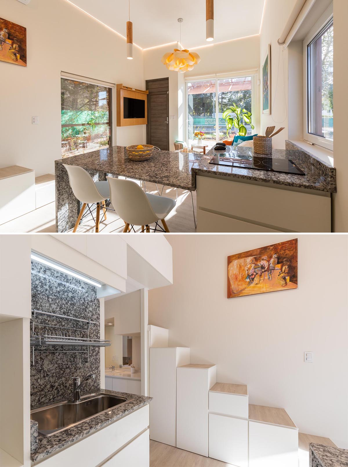 In this tiny home kitchen, there's a multi-level countertop with the section dedicated to the cooktop, and the lower acts as a countertop work surface and dining table.