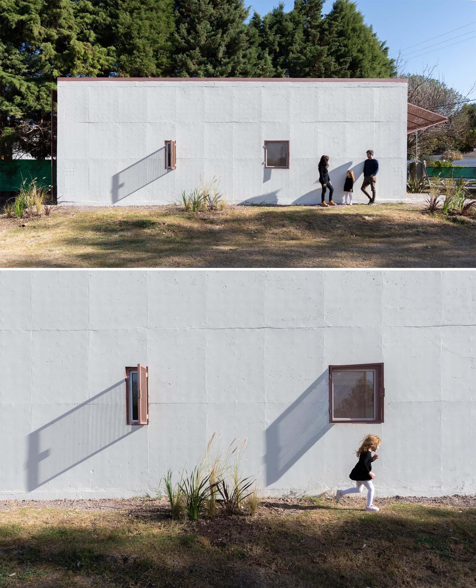 A modern precast concrete relocatable tiny home.