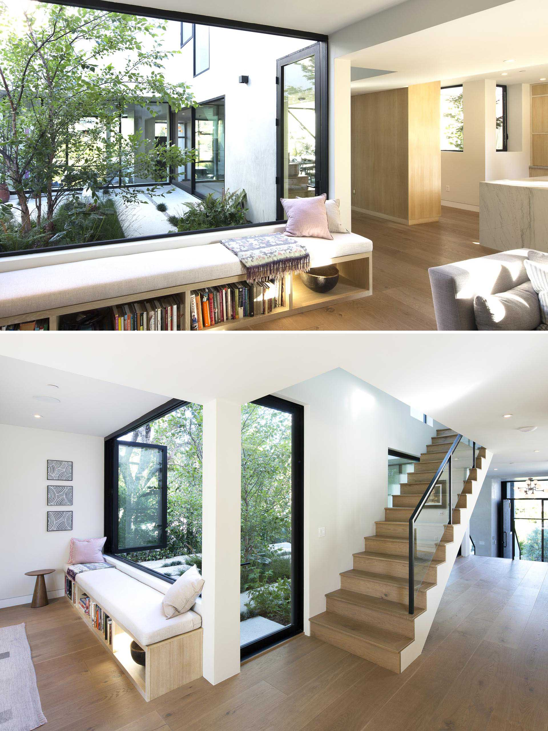 A modern window bench with a built-in bookshelf.