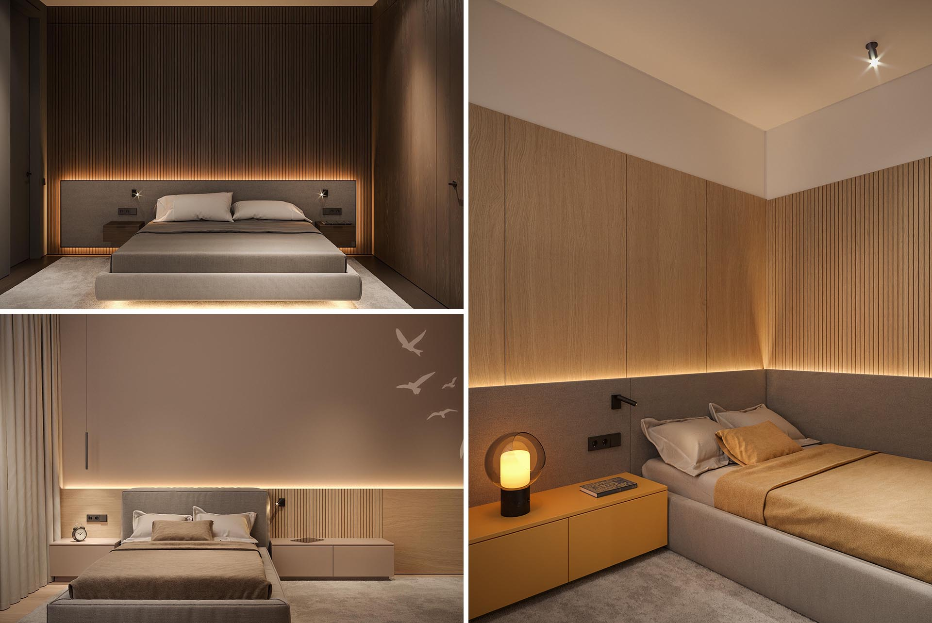 Modern bedrooms with a backlit headboard and partial wood accent wall.