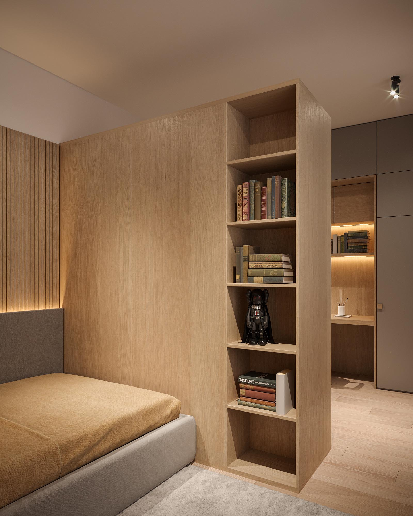 A modern bedroom with built-in shelving.