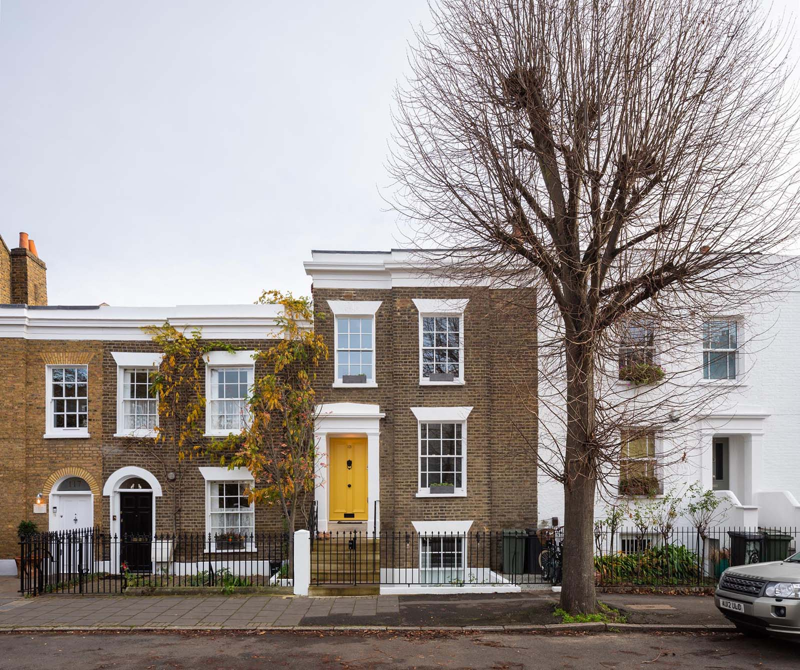 A brick terraced house in London, England.