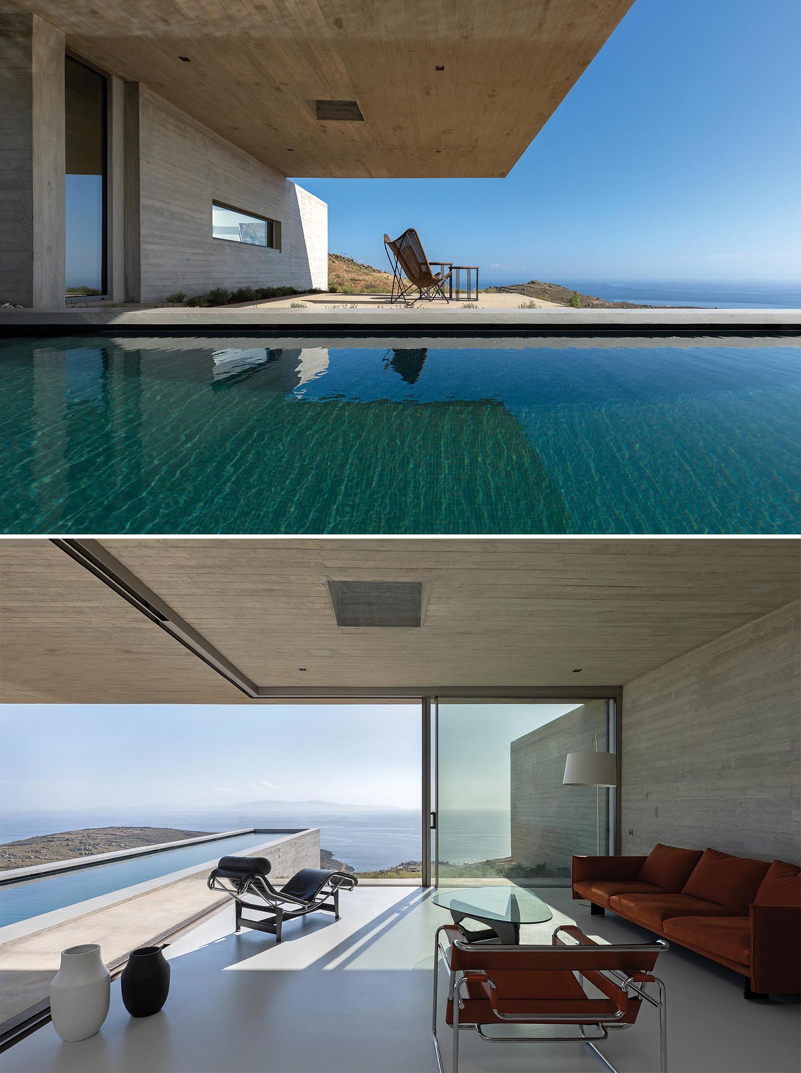 A modern concrete home with a living room that has sliding glass walls that open to the swimming pool.