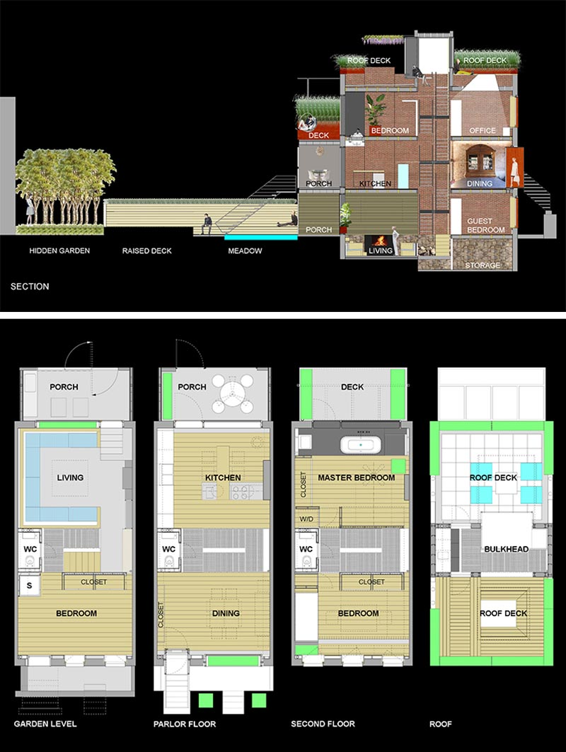 The floor plan and layout of a four storey brick home in New Yor.