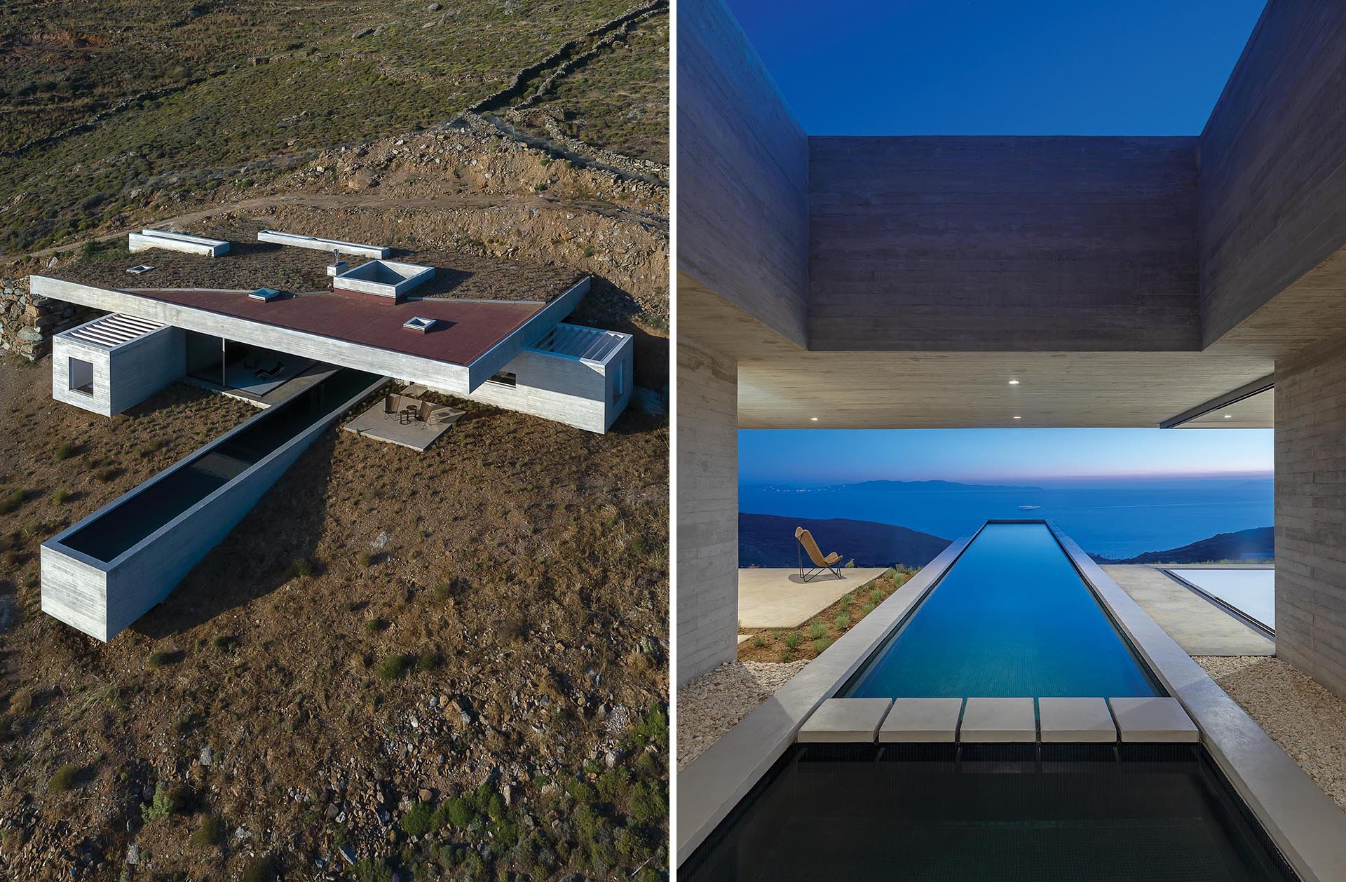 A modern concrete home built into the hillside, has a partial green roof and a long swimming pool.