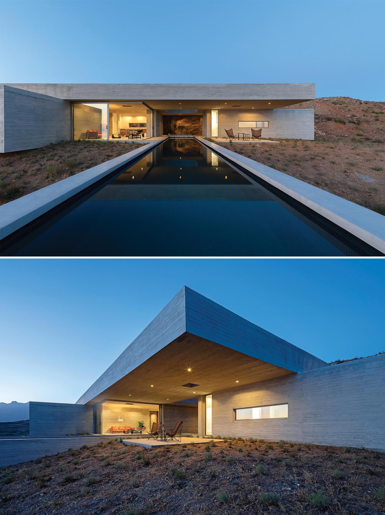 A modern concrete house built into the hillside has a linear swimming pool and a covered outdoor patio.