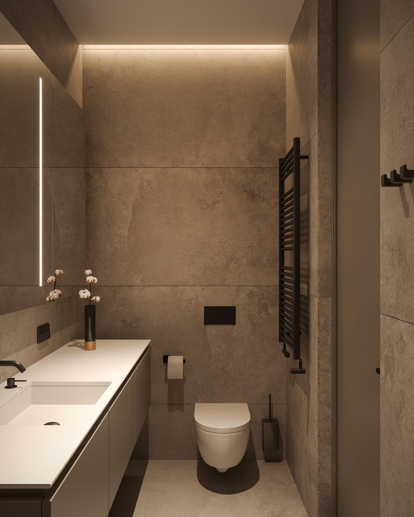 A modern bathroom with a white vanity, large format tiles, and black accents.