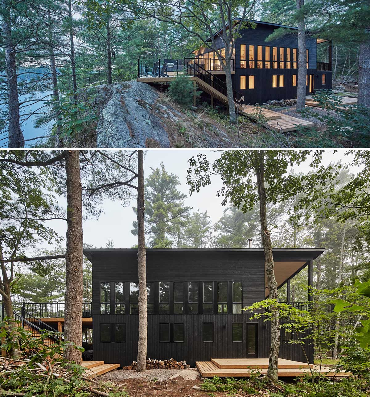 A modern cottage with black siding.