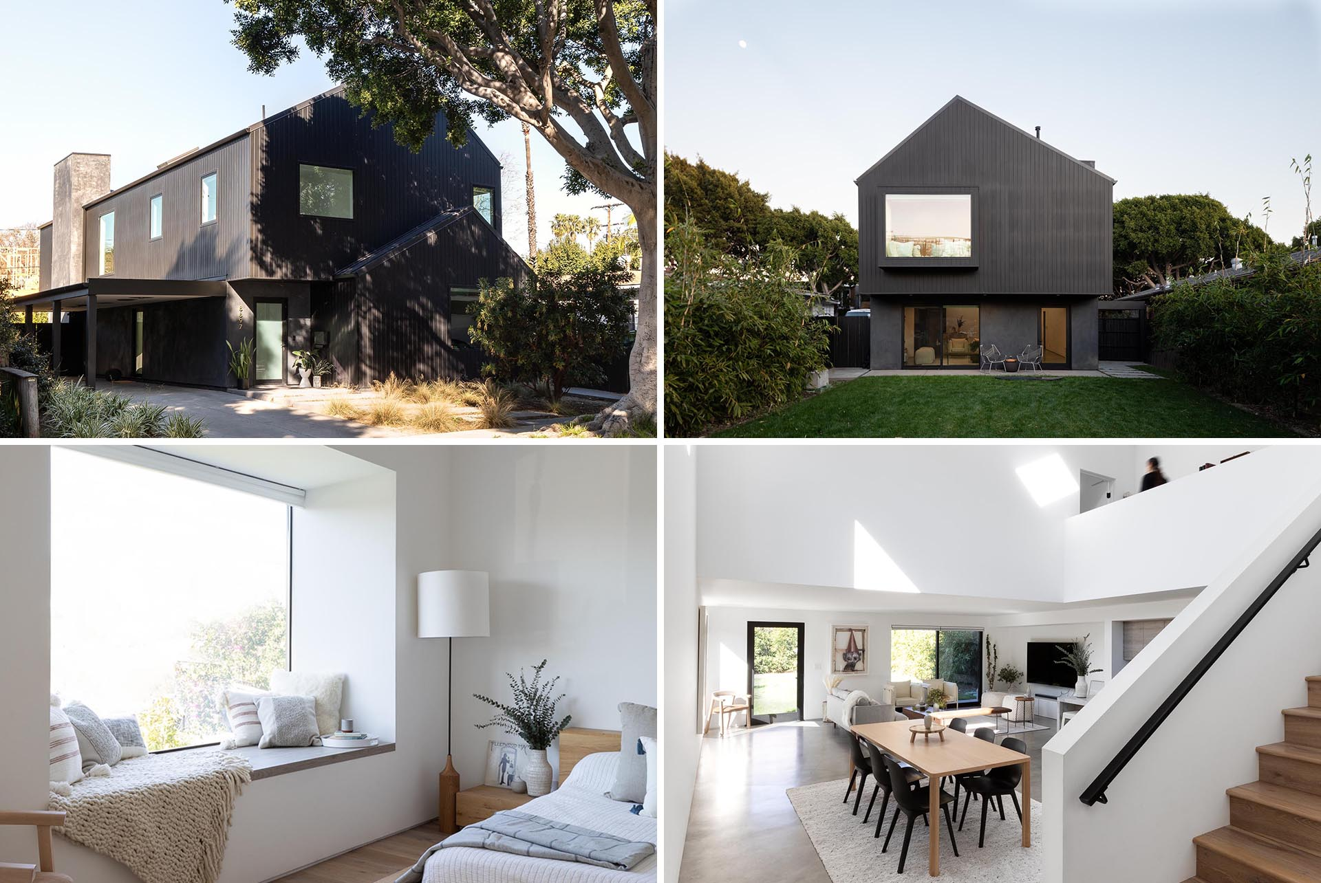 The dark and moody black exterior of the home was inspired by Japanese traditions like Shou Sugi Ban, while the interior is bright, white, and open.