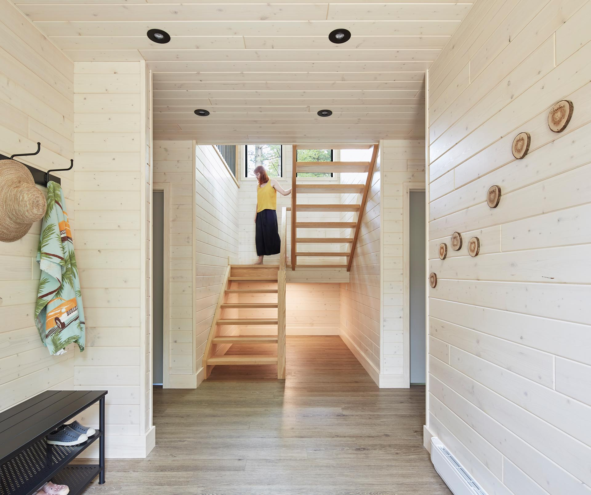 A modern wood staircase.