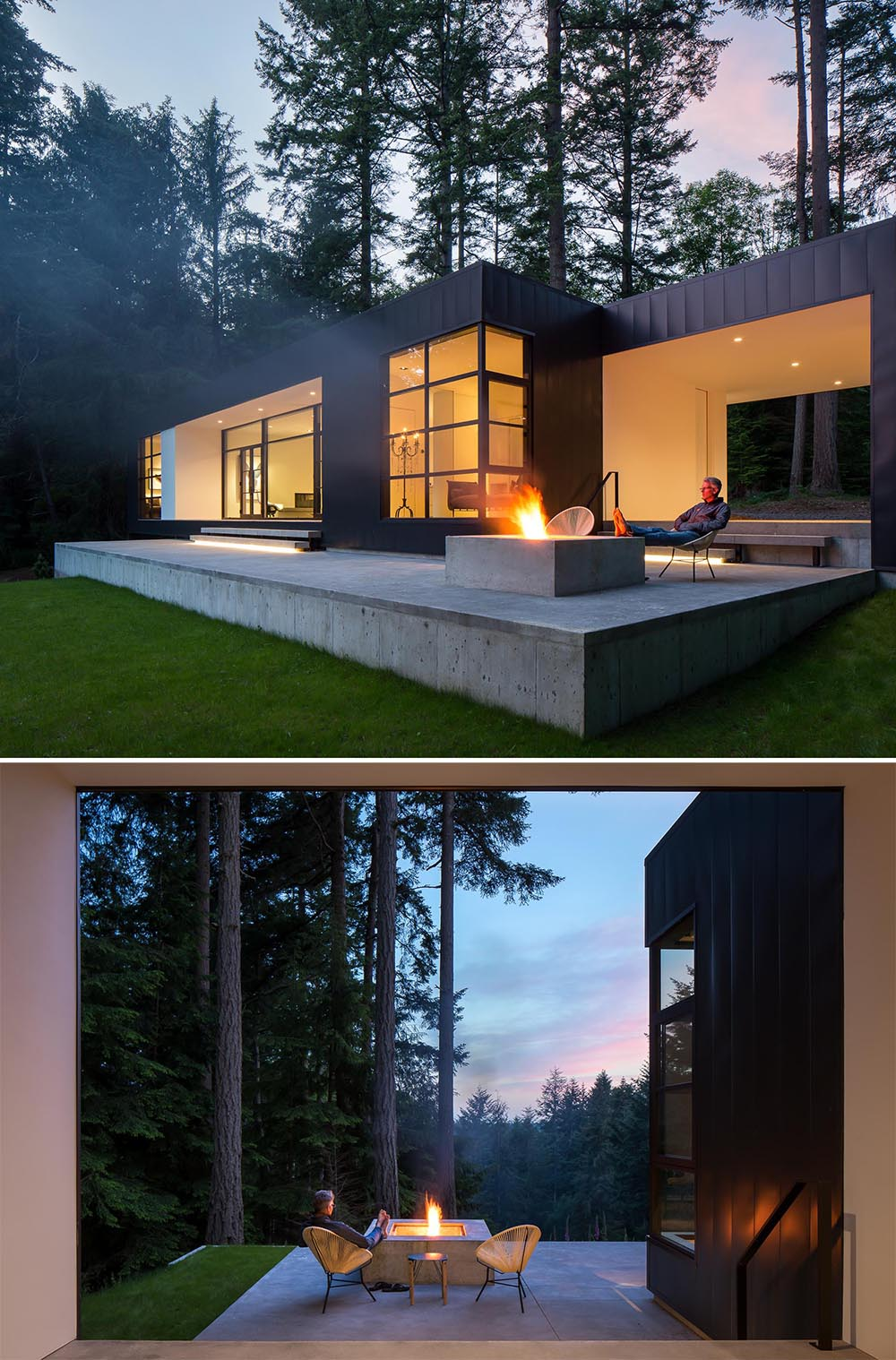 Built into the concrete terrace of this modern home, is a fire pit that can be lit to create a cozy outdoor experience.