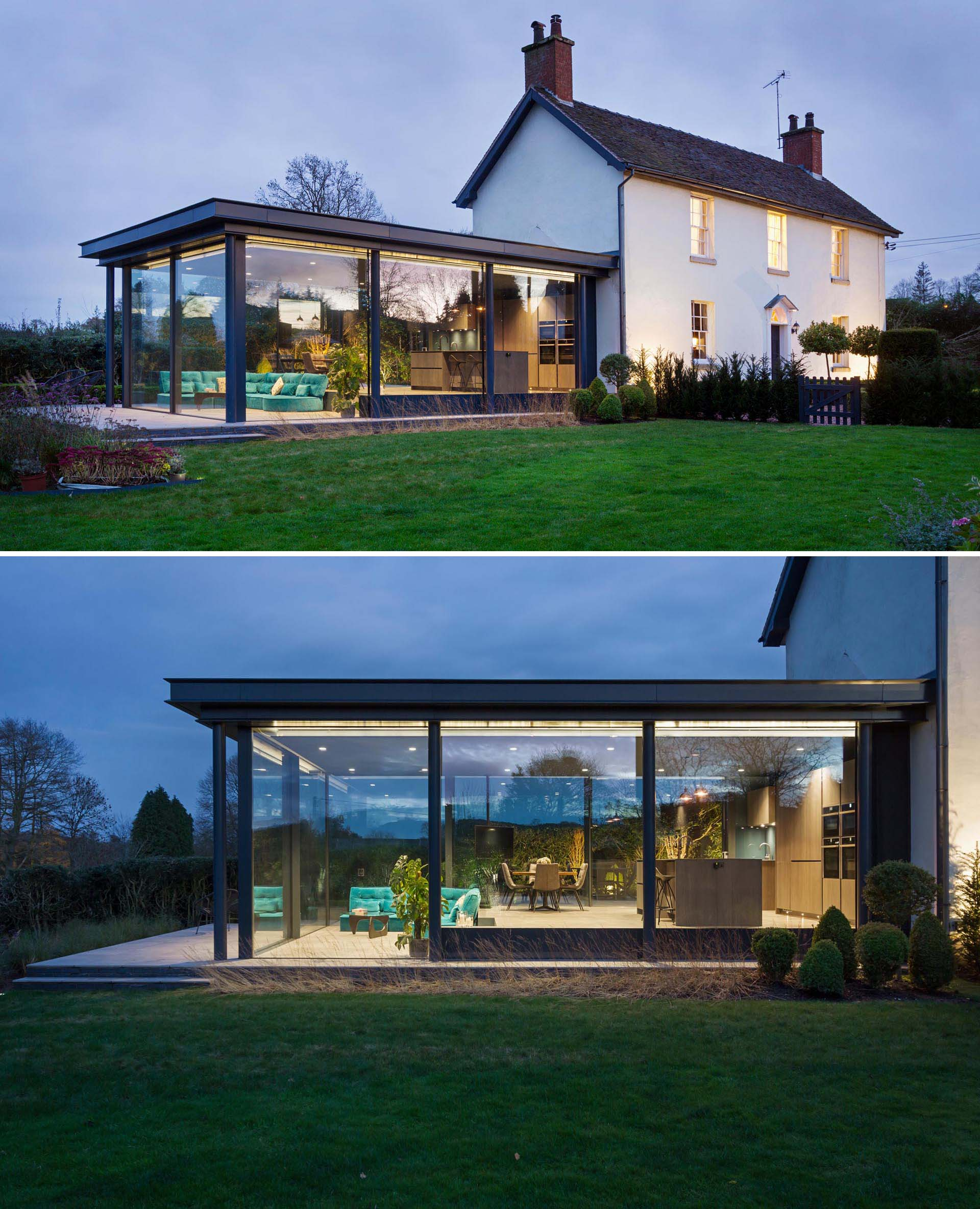 A modern glass addition for a heritage home in England.