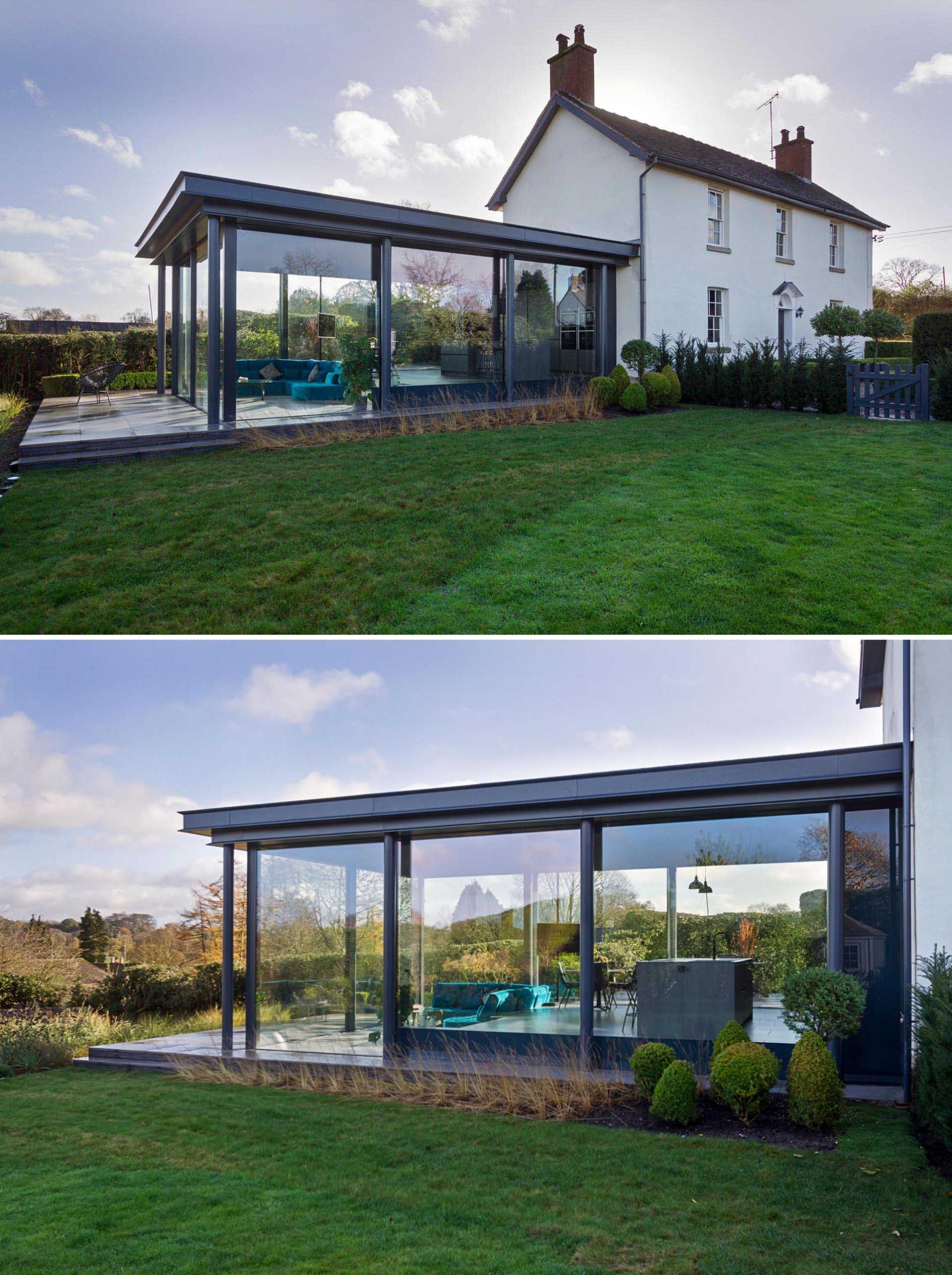 A modern glass enclosed addition for a Grade II Listed cottage in a small hamlet in Staffordshire, England.