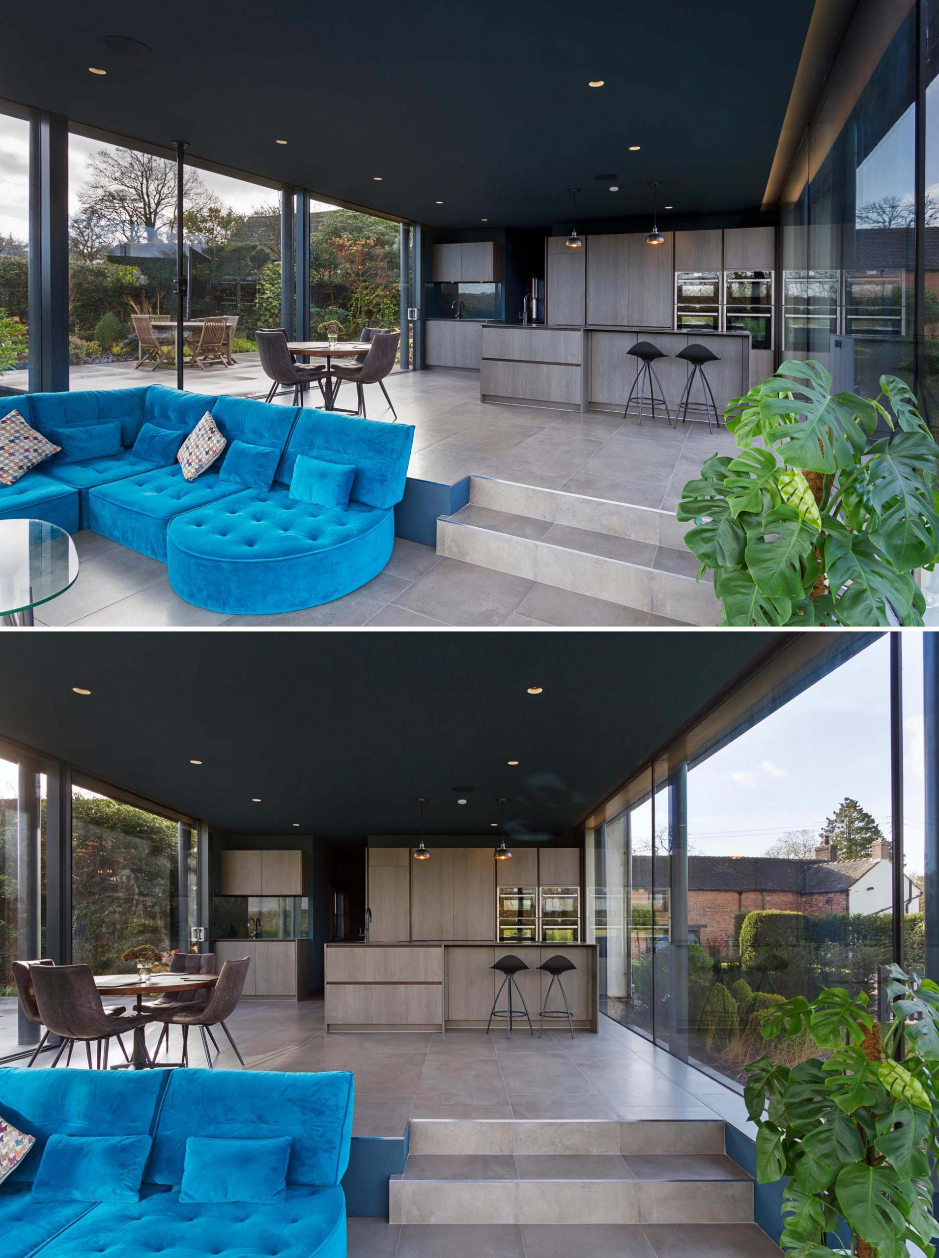 The modern interior of this addition includes a 1960's style split level living area away from the kitchen and dining area, creating a space to comfortably relax and enjoy the views of the garden day and night.