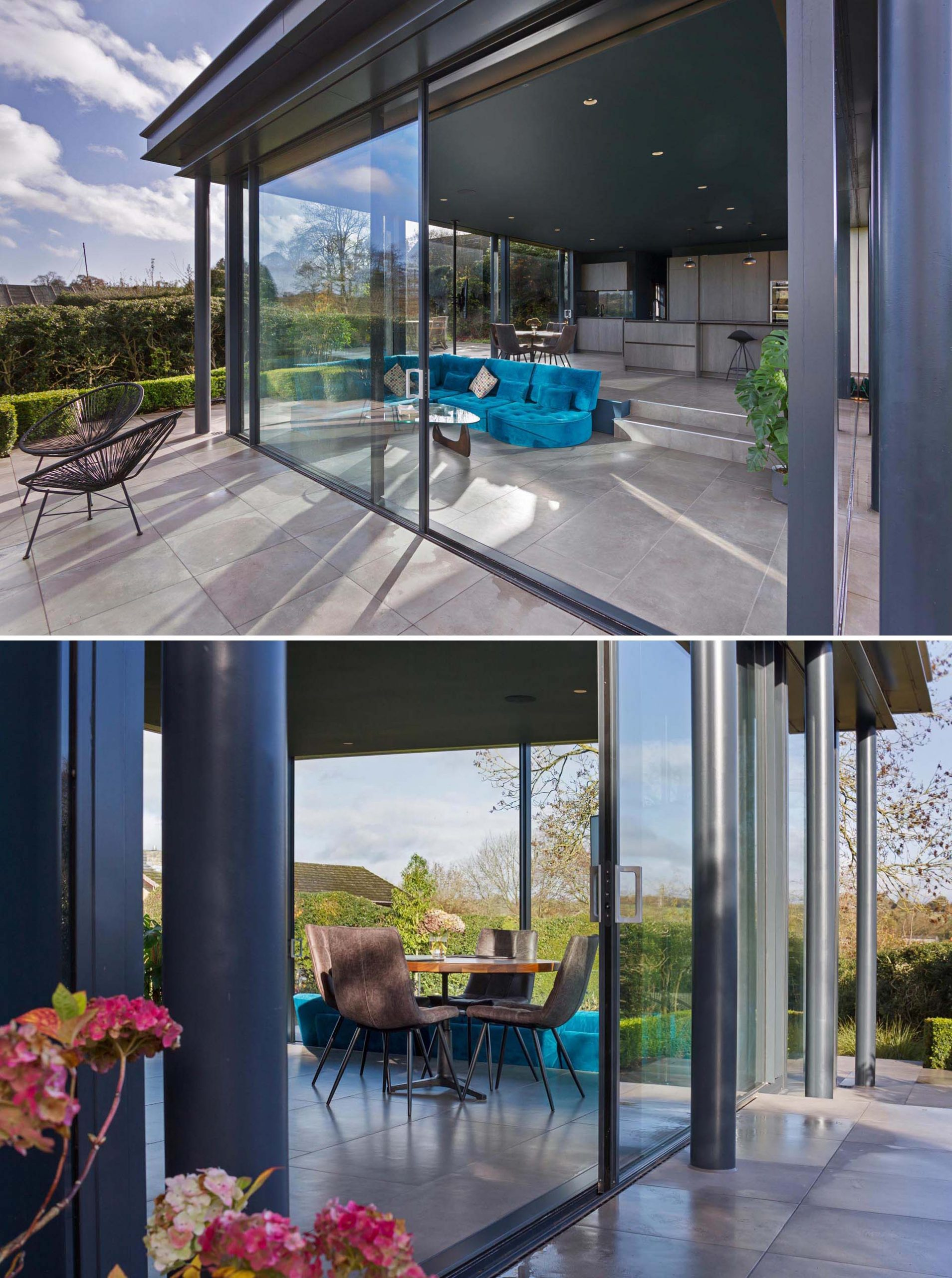 The floor to ceiling glazed doors of this modern addition provide an abundance of natural light and provide the connection to the garden that was desired.
