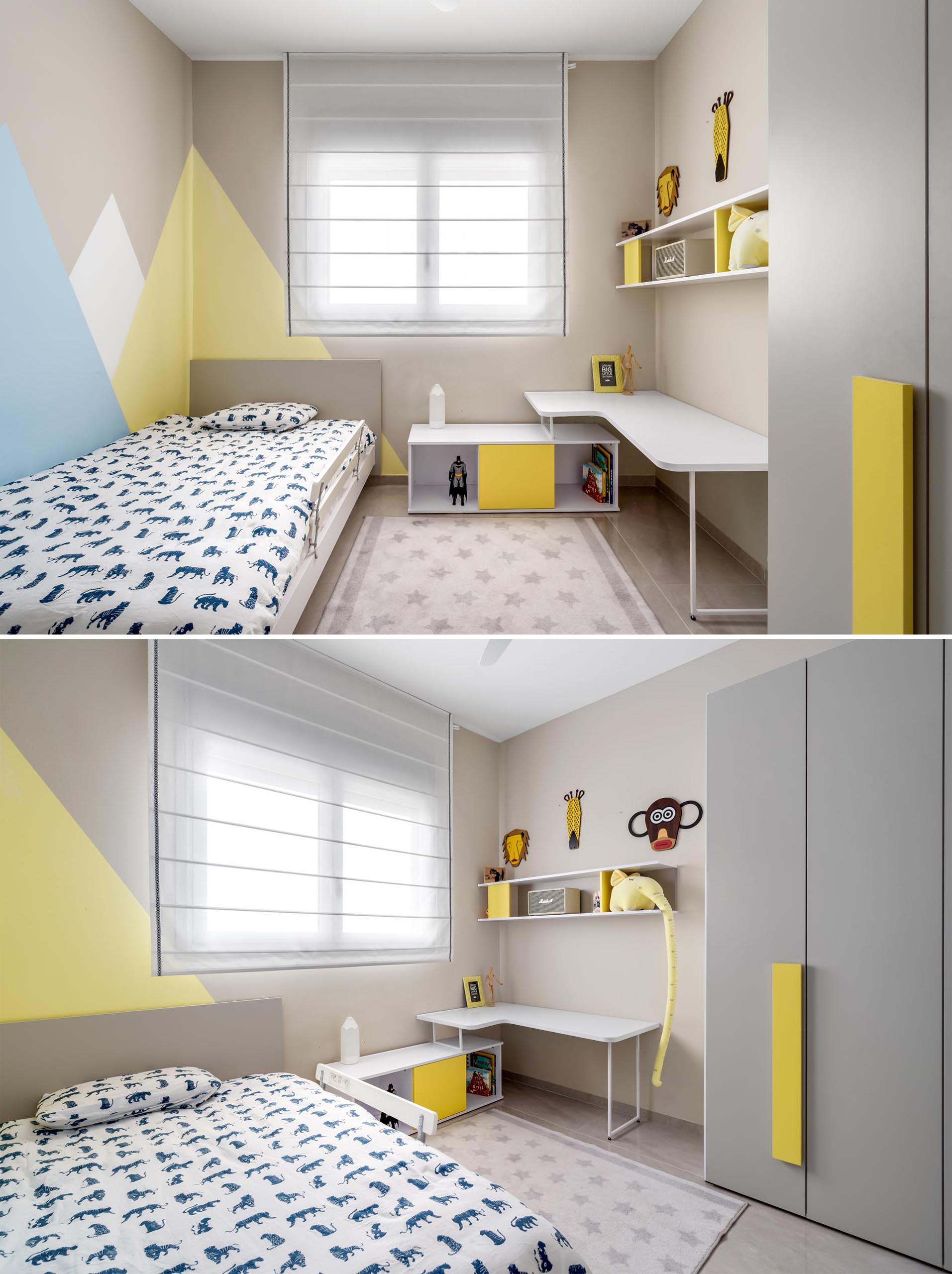 In this kid's bedroom, soft pops of yellow and blue brighten up neutral colored walls.