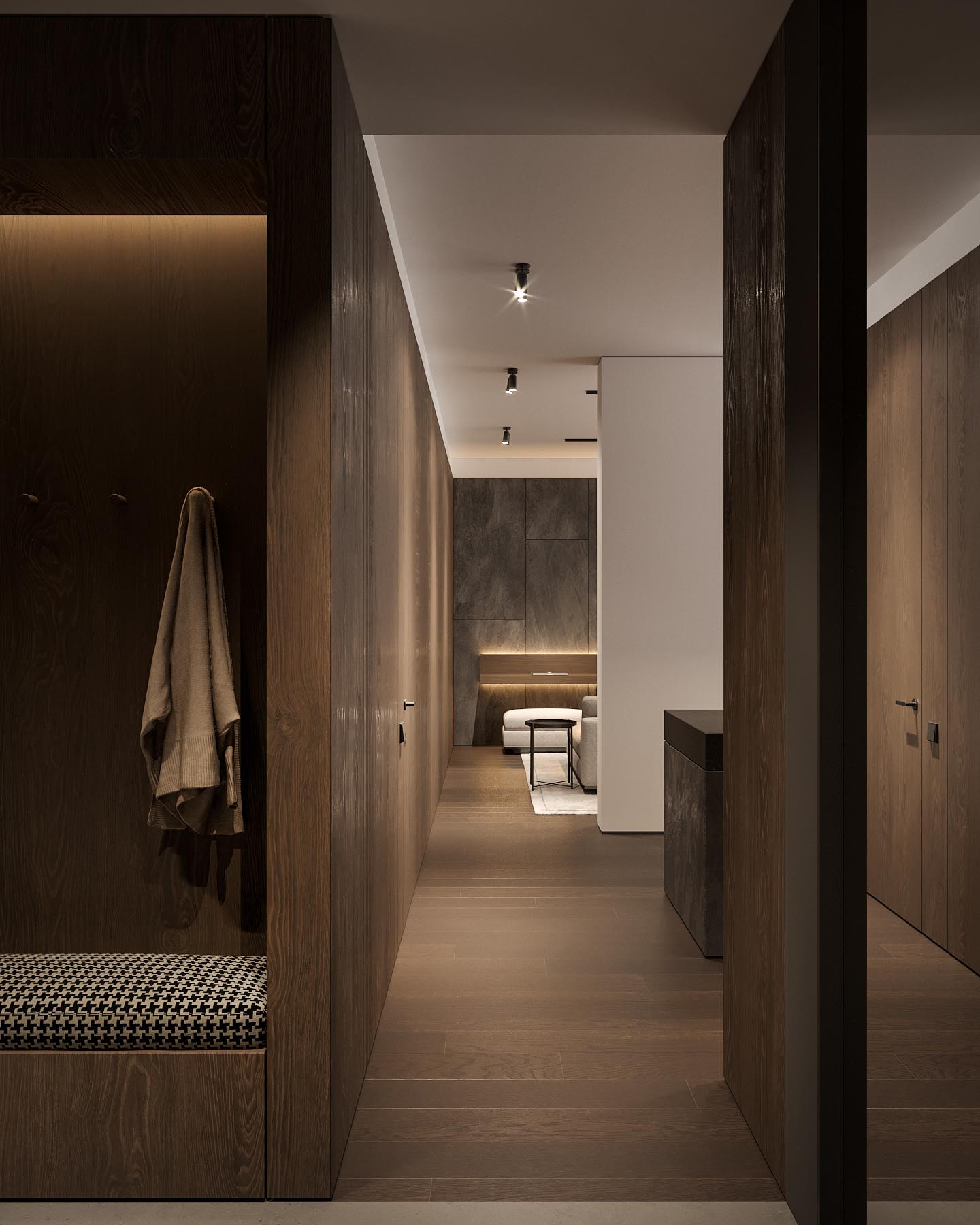 A dark wood lined entryway and hallway.